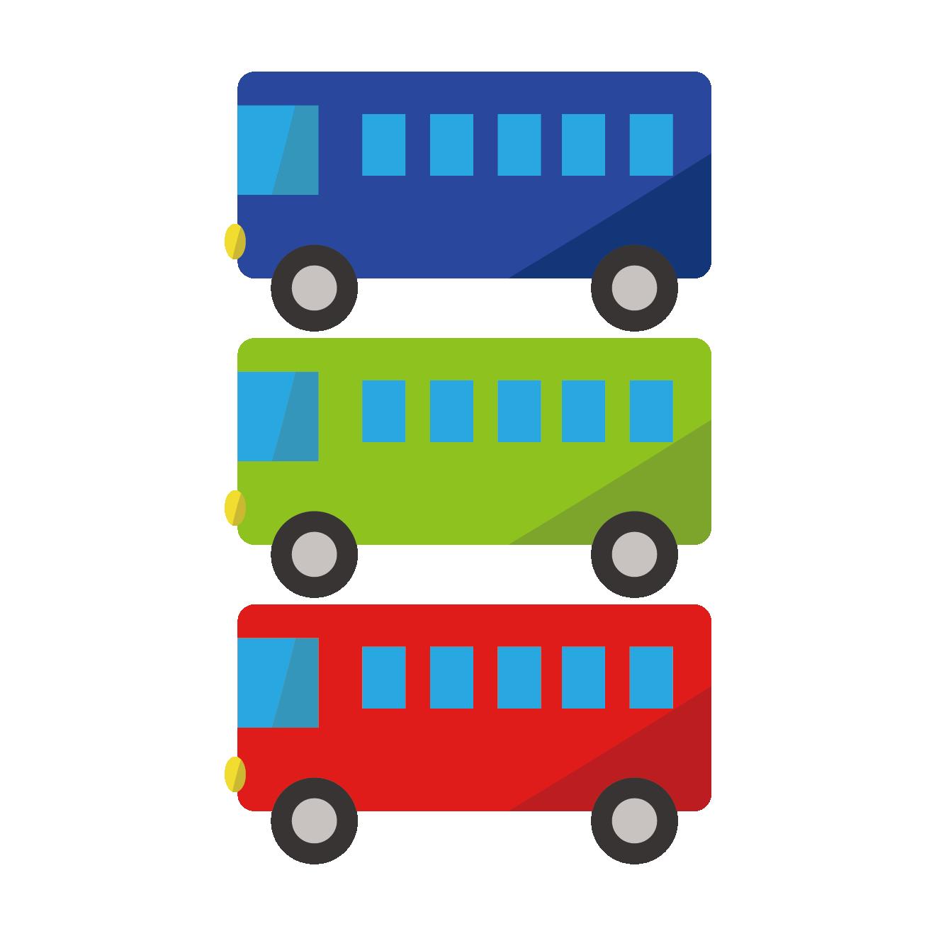 3色のかわいいバスのイラスト | 商用フリー(無料)のイラスト素材なら