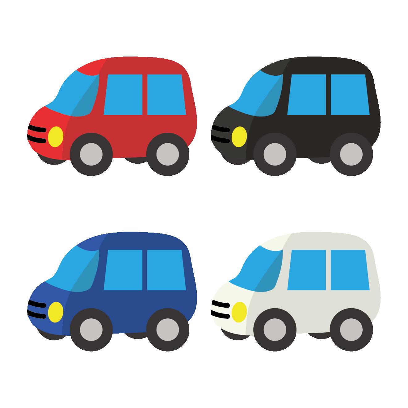 軽自動車(自動車・車)の4色展開イラスト | 商用フリー(無料)の