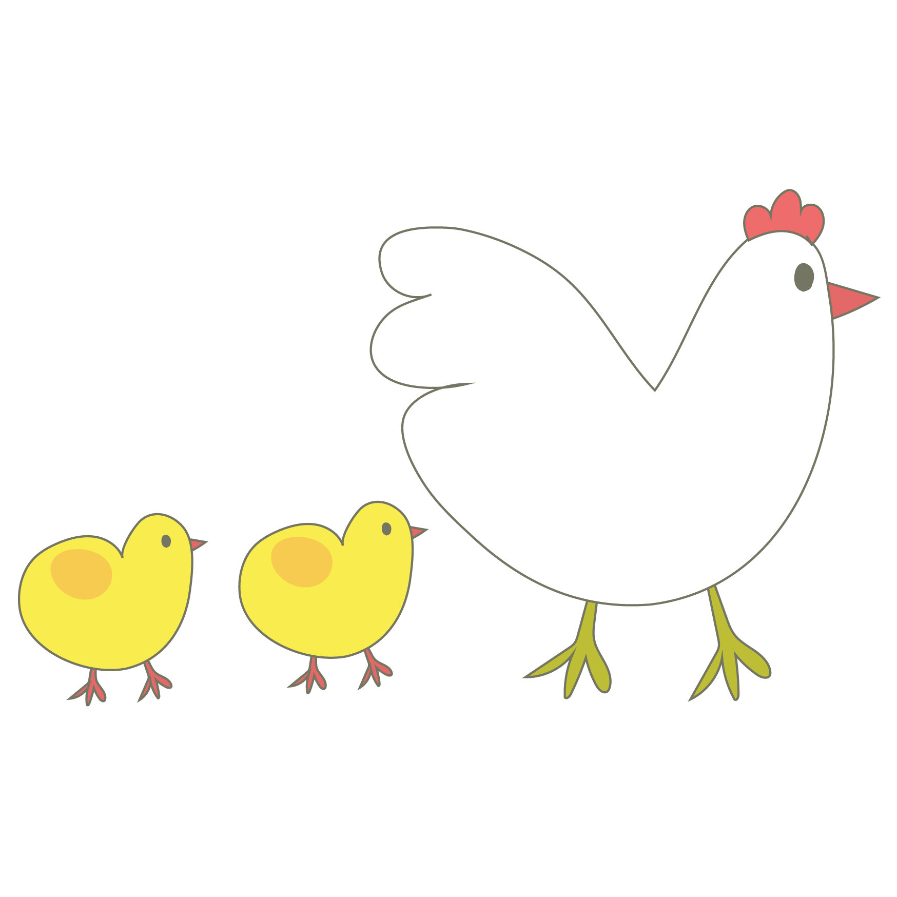 かわいい鶏とヒヨコの親子 イラスト 2017年酉年 | 商用フリー(無料)の