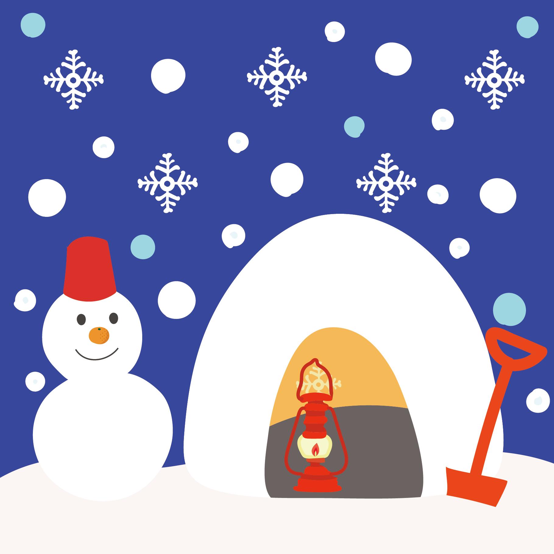かまくら と かわいい 雪だるま の 冬 フリー イラスト 商用フリー