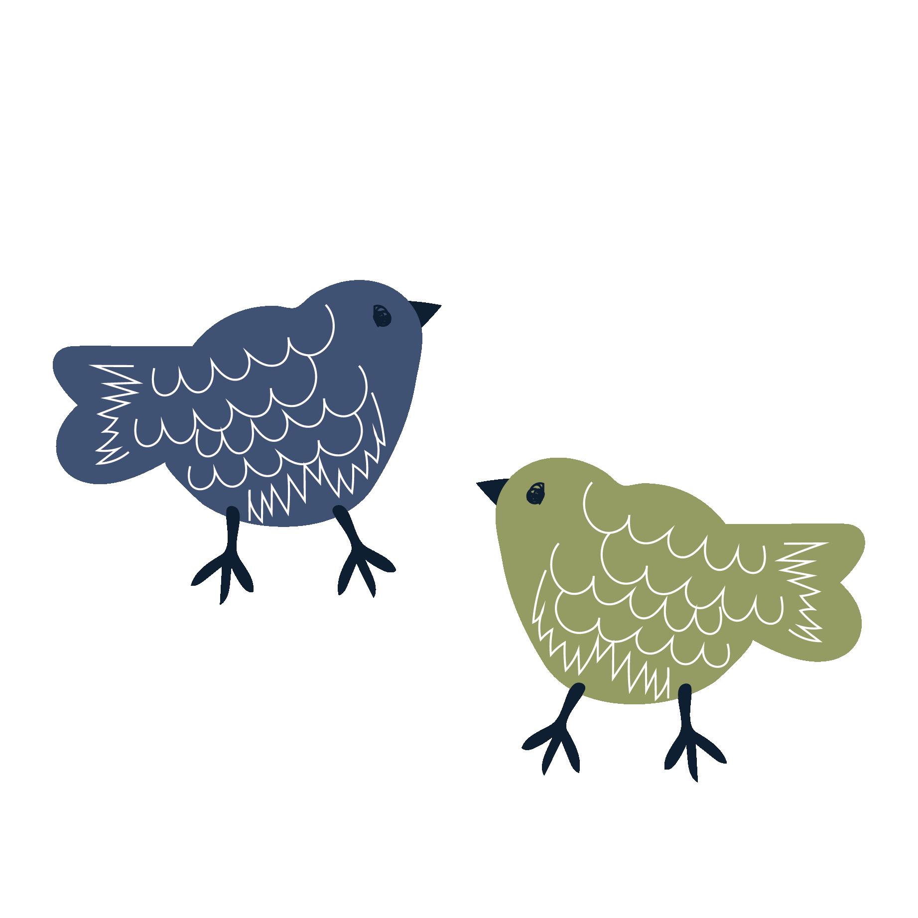 北欧風ちょっとゆるいお鳥とりさんのイラスト酉年年賀状にも
