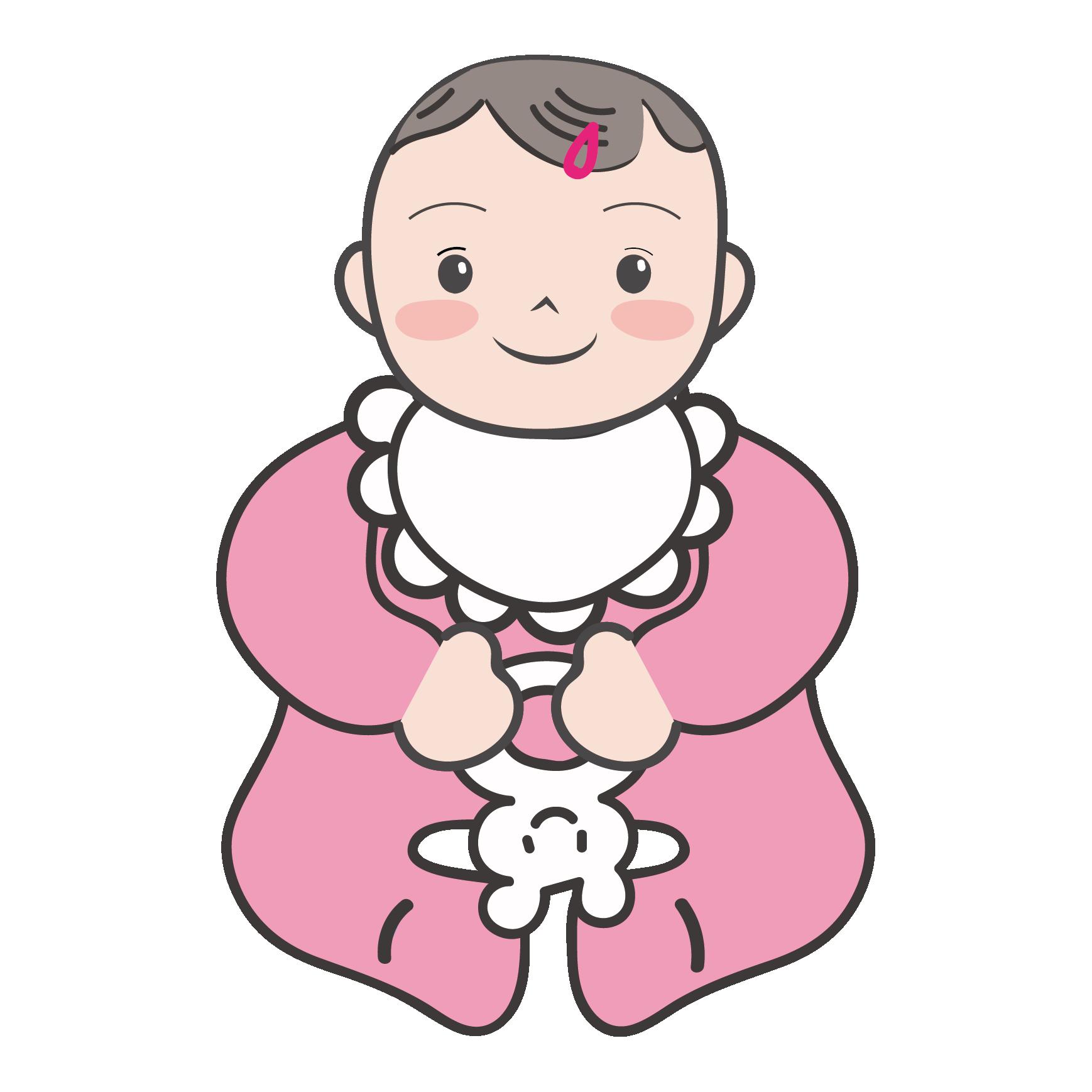 にっこりご機嫌な女の子の赤ちゃんのイラスト | 商用フリー(無料)の