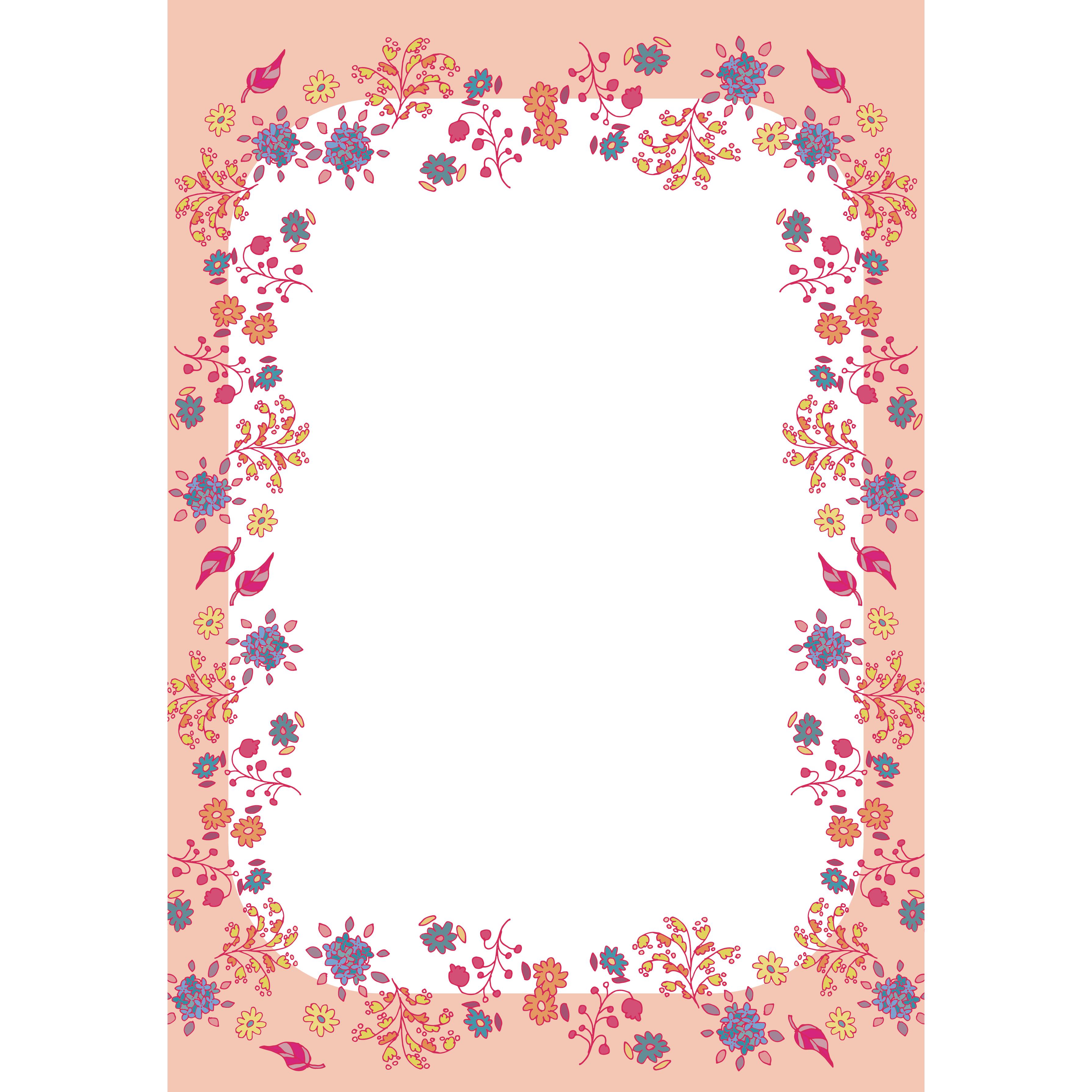 かわいい花柄フレーム便箋枠のイラスト A4サイズ 商用フリー
