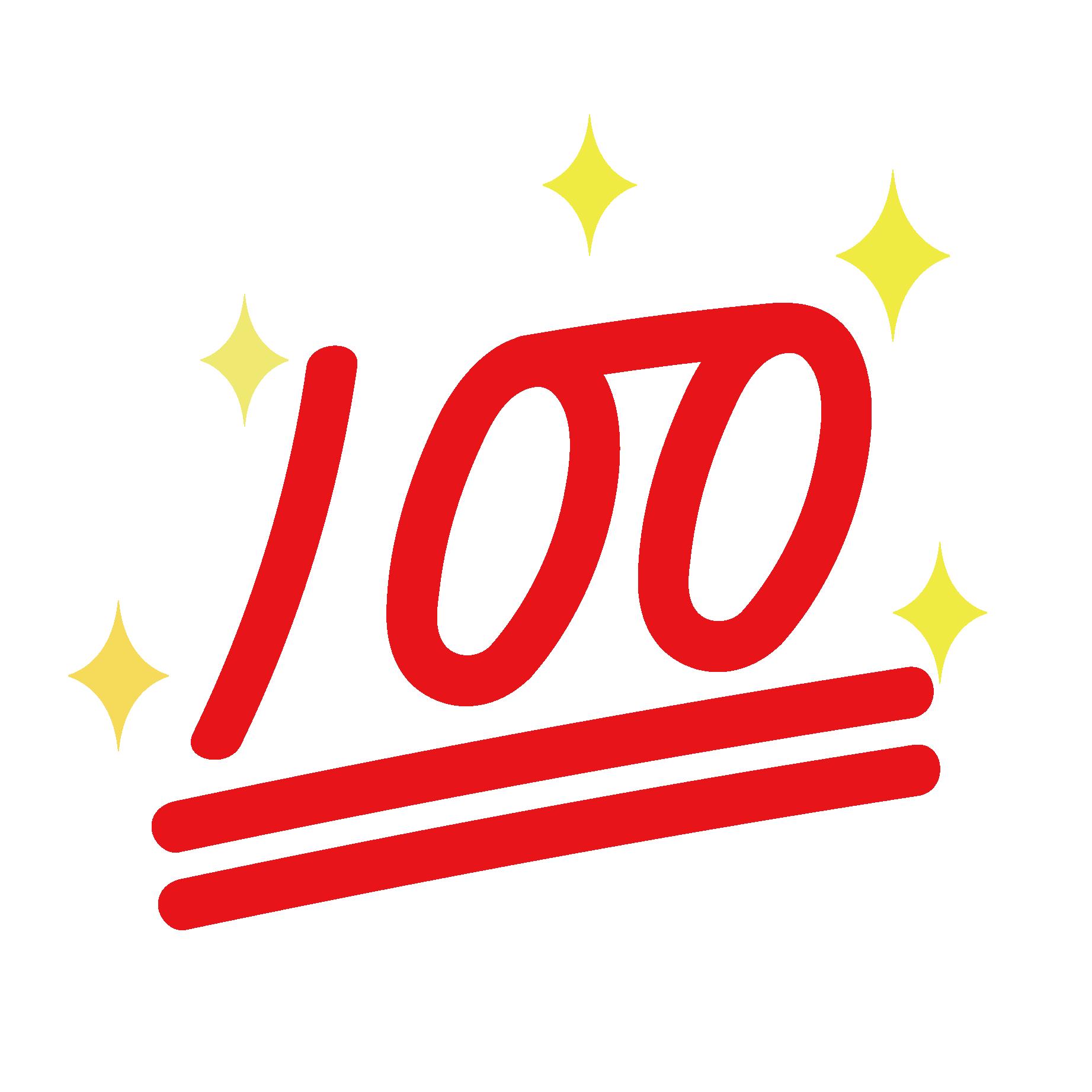 100点(100てん)マークでキラキラの 無料 イラスト