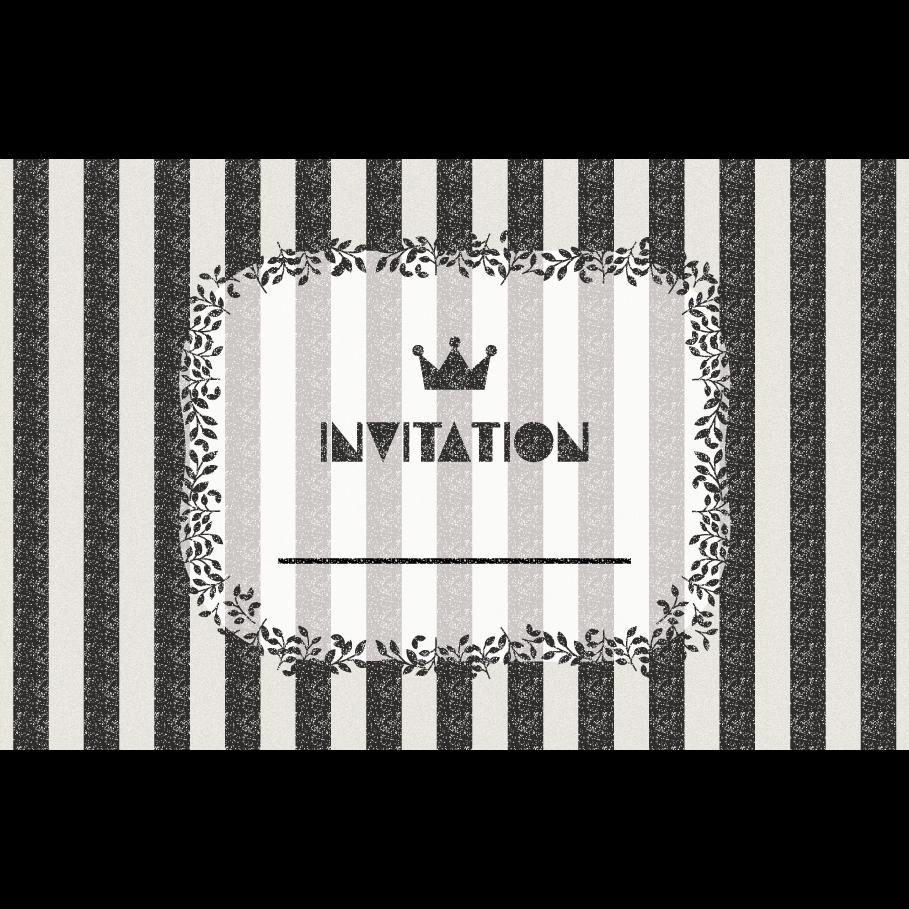 おしゃれ!ストライプの招待状のテンプレート (横)イラスト