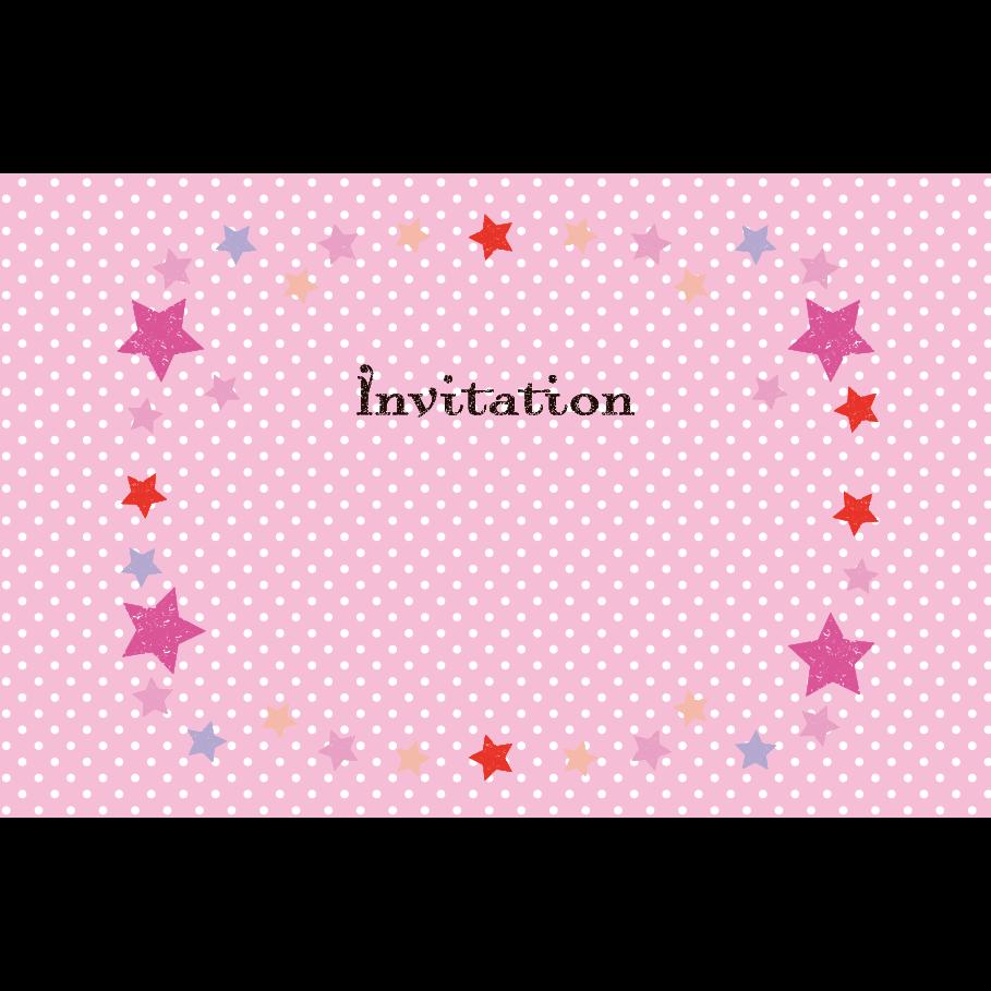 かわいい星枠&水玉ピンクの 招待状 のテンプレート  英語 イラスト