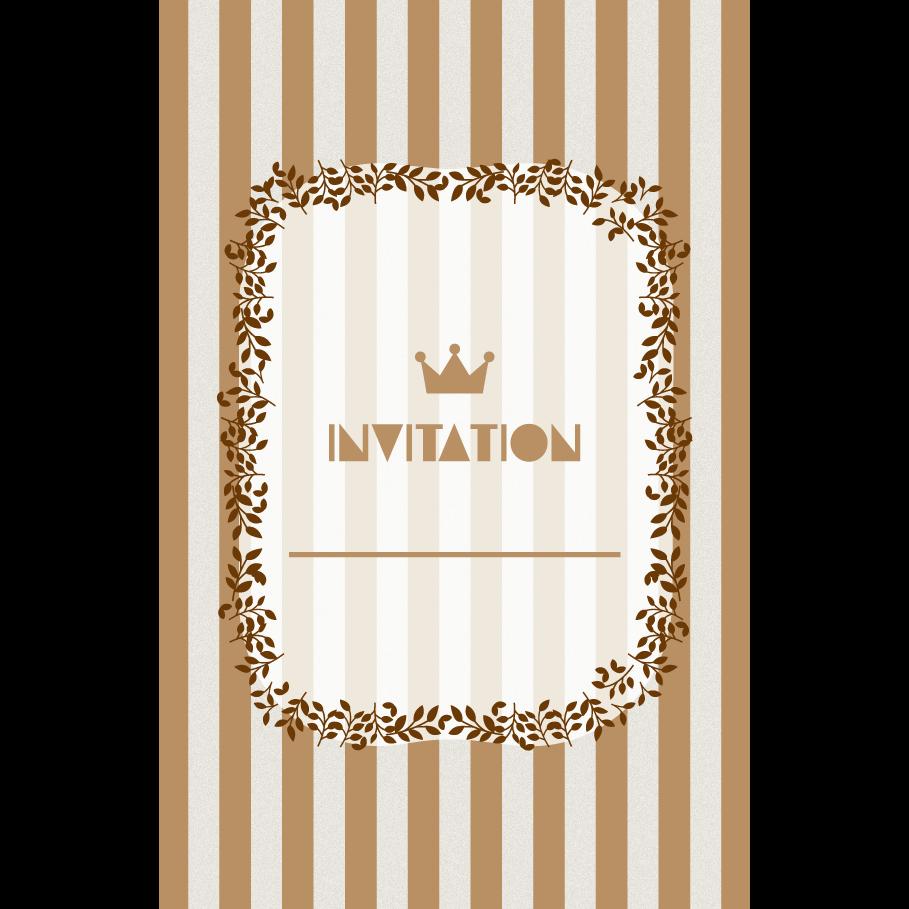 おしゃれ!ストライプの招待状のテンプレート (縦)茶色 イラスト