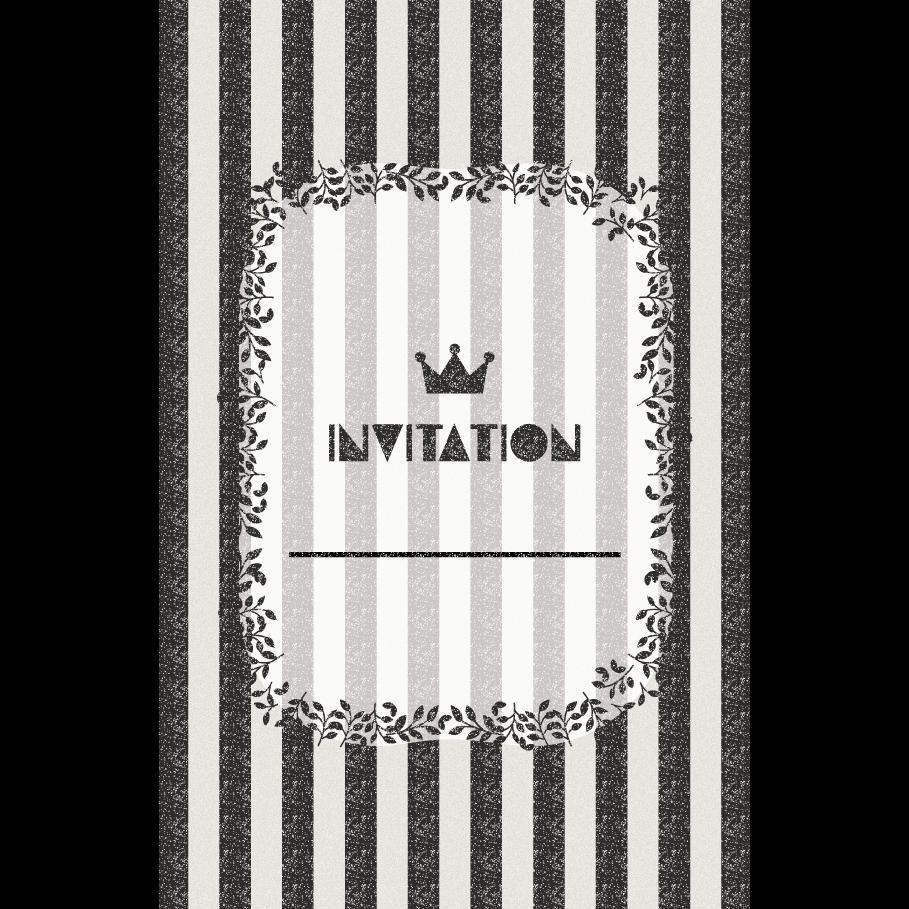 おしゃれ!ストライプの招待状のテンプレート (縦)黒色 イラスト