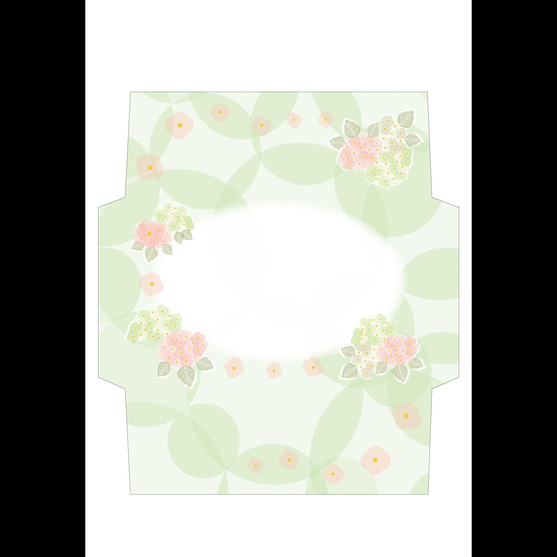かわいい♪紫陽花(アジサイ)の封筒 無料テンプレート イラスト