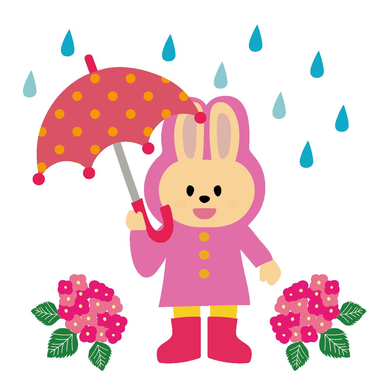 ピンクのレインコートを着たうさぎのイラスト【梅雨】