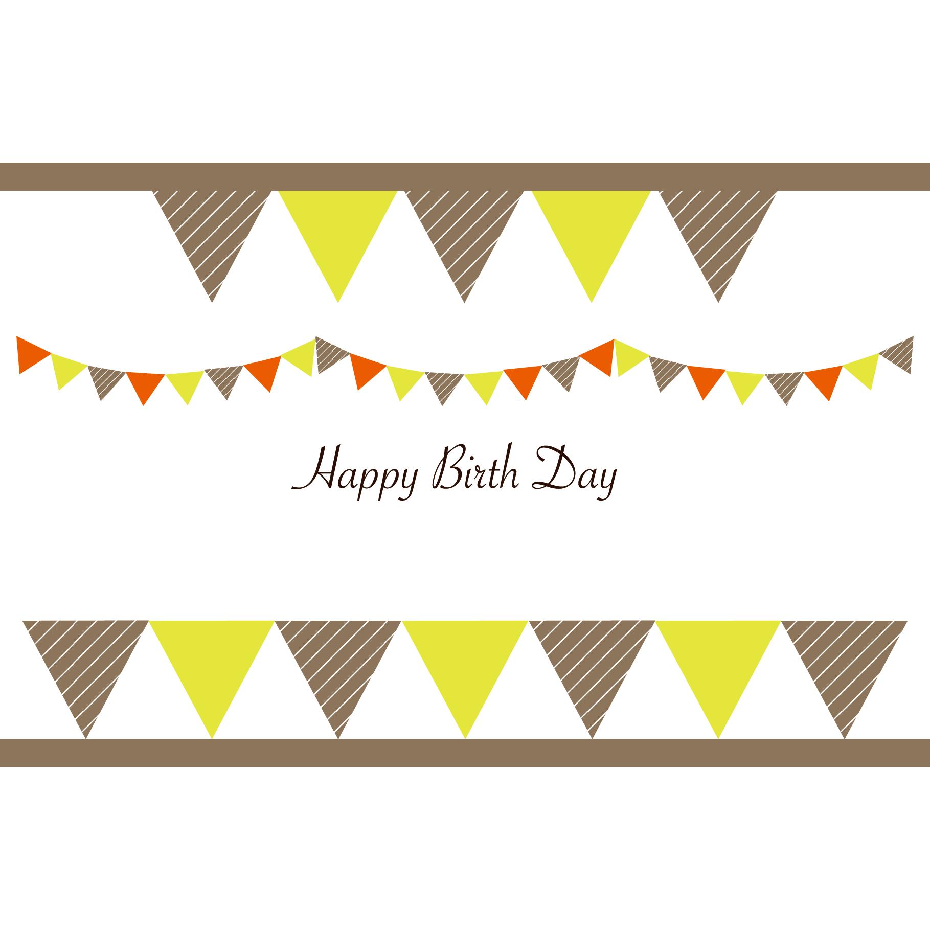 バースデーカード(誕生日)♪お洒落なガーランド 無料 イラスト