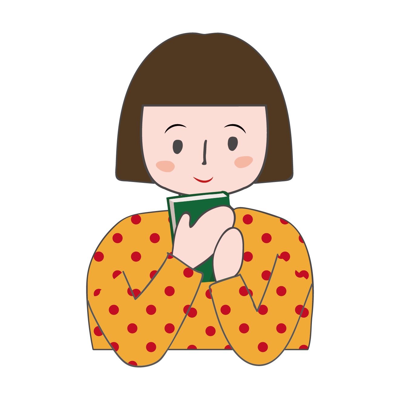本を読もうとしている女の子のイラスト | 商用フリー(無料)のイラスト