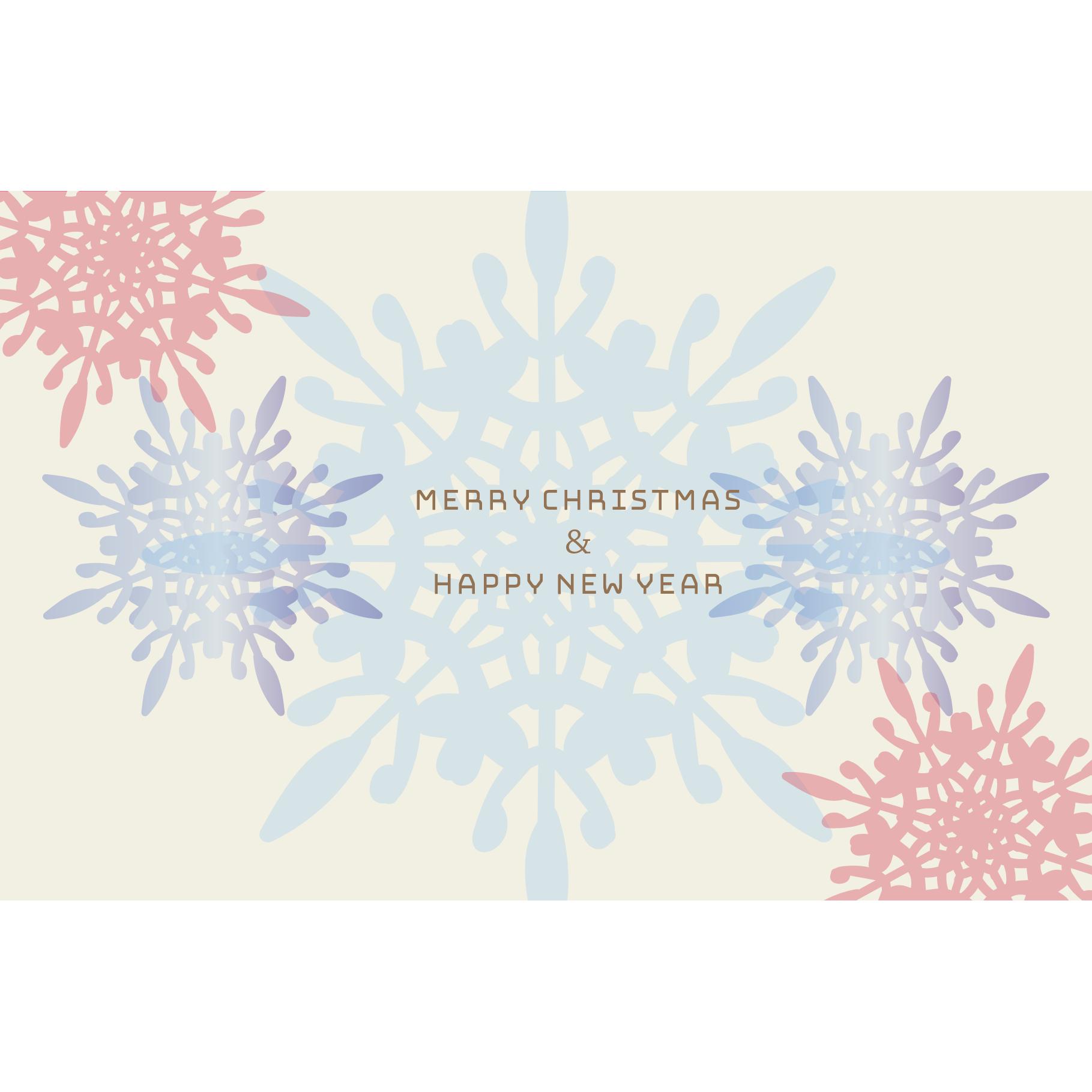 雪の結晶 Merry chirstmas クリスマスカードのテンプレート2 イラスト