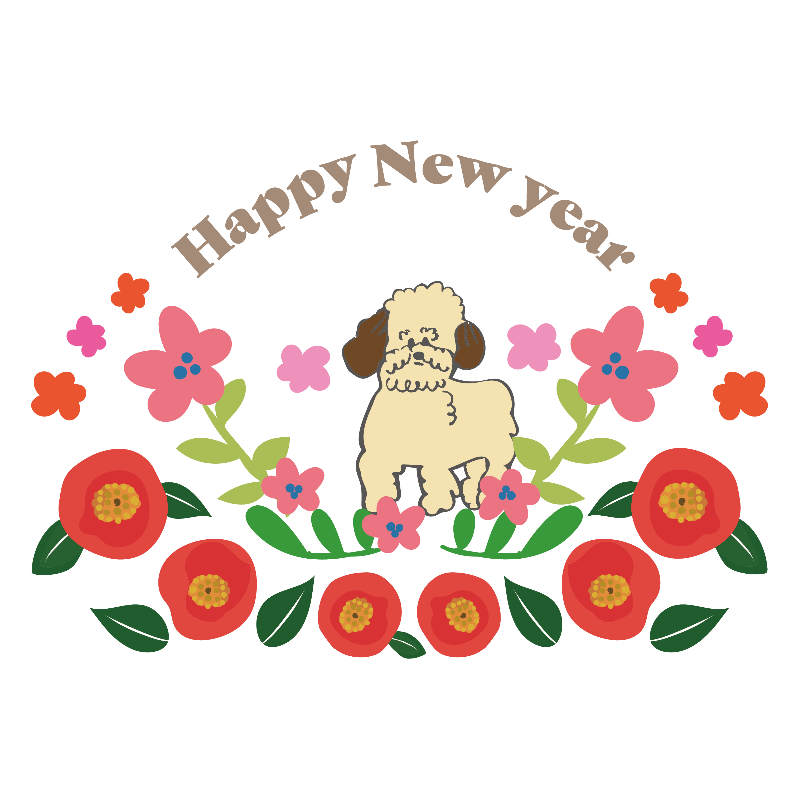 年賀状 2018 デザイン おしゃれなトイプードル(犬) イラスト | 商用