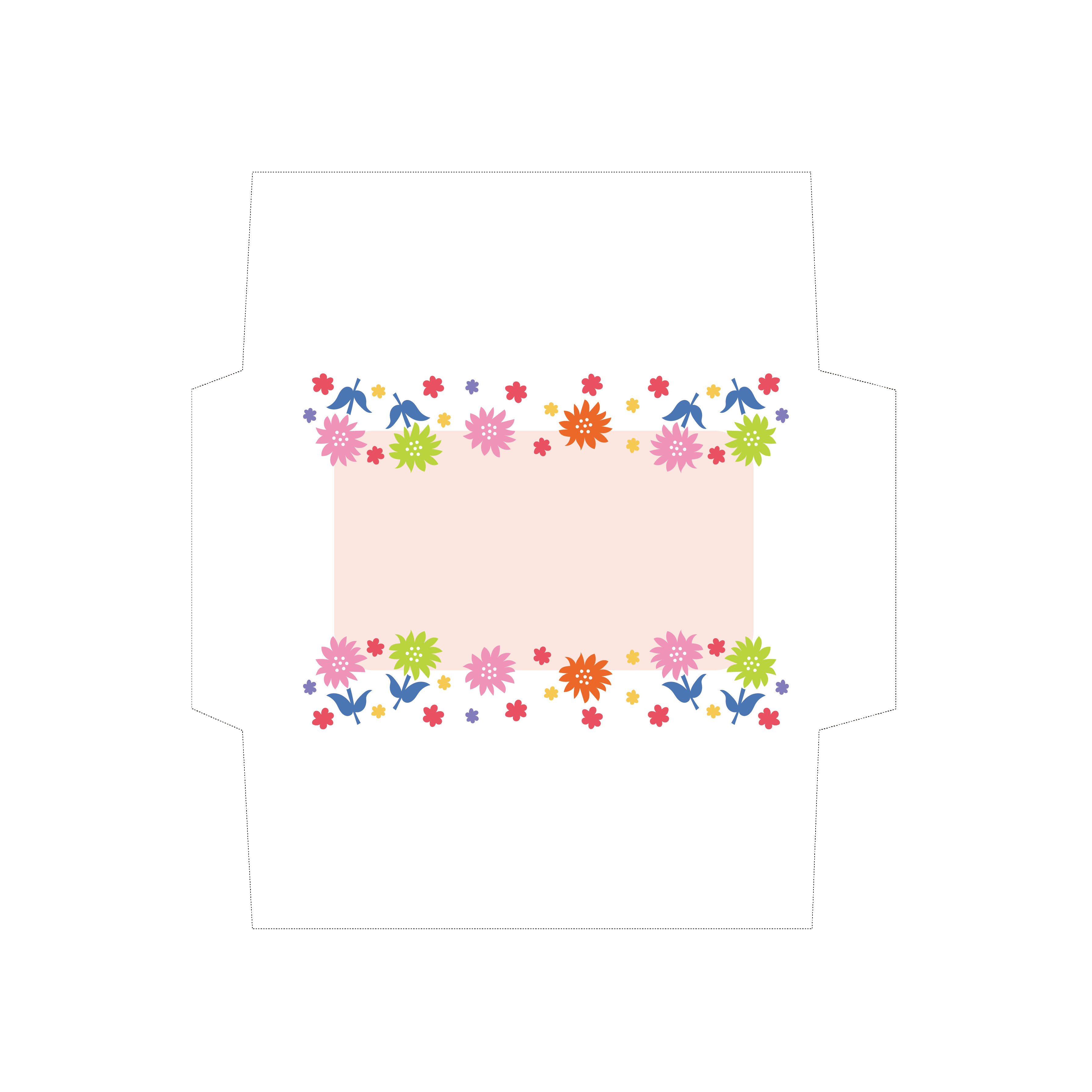 カラフルレトロな封筒のテンプレート イラスト