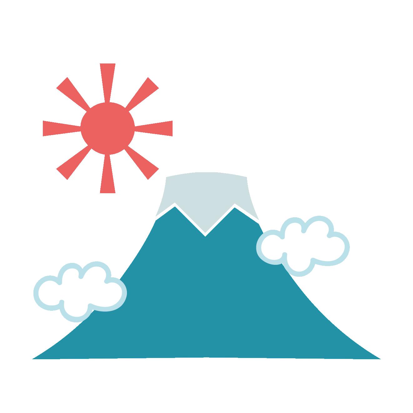 天気は快晴富士山ふじさんの初日の出のイラスト年賀状素材
