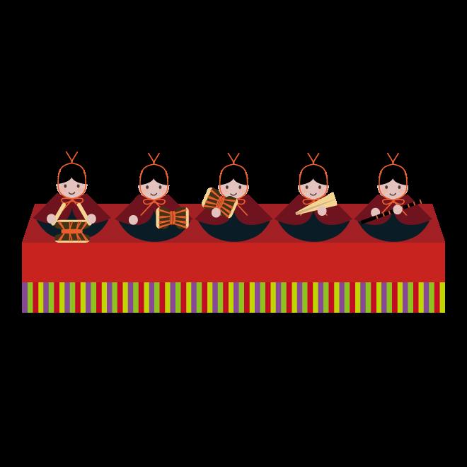 ひなまつり横並び五人囃子ごにんばやしの 無料 イラスト
