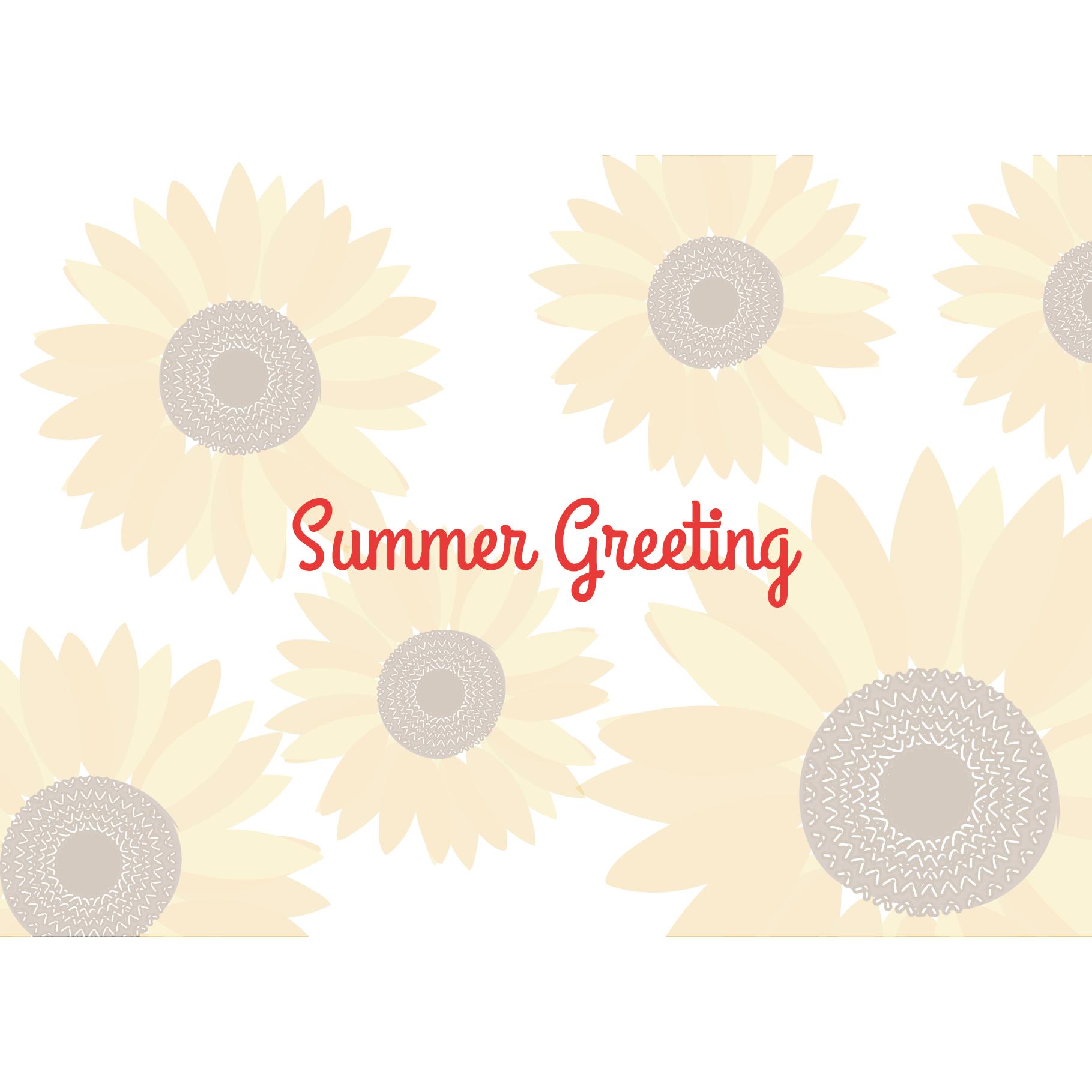 【暑中・残暑見舞い・横】ひまわりの夏のグリーティング イラスト