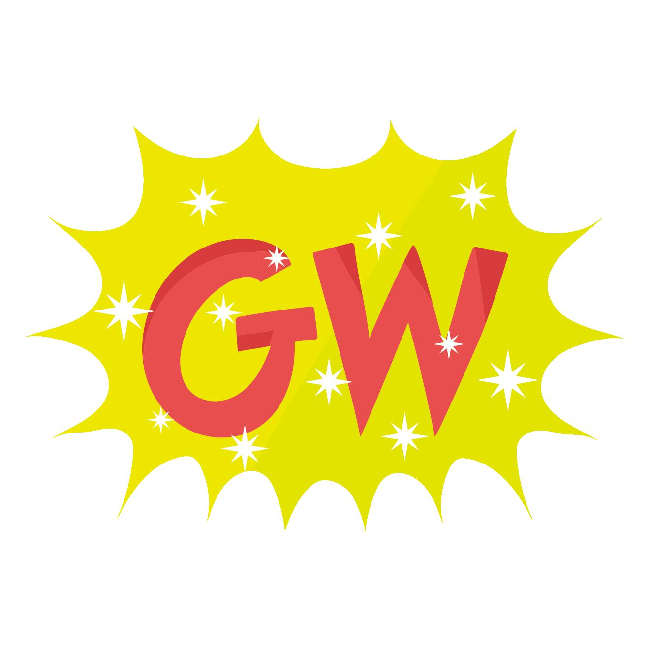 gw!ゴールデンウィークの文字(ロゴ)マーク イラスト   商用フリー(無料