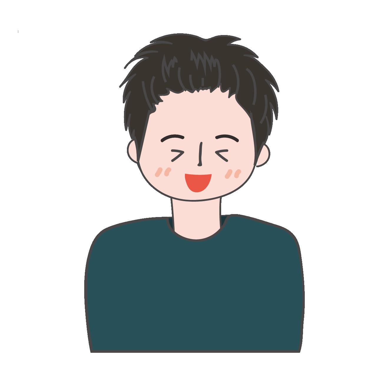 嬉しい!嬉しそうな表情の男性 イラスト | 商用フリー(無料)のイラスト
