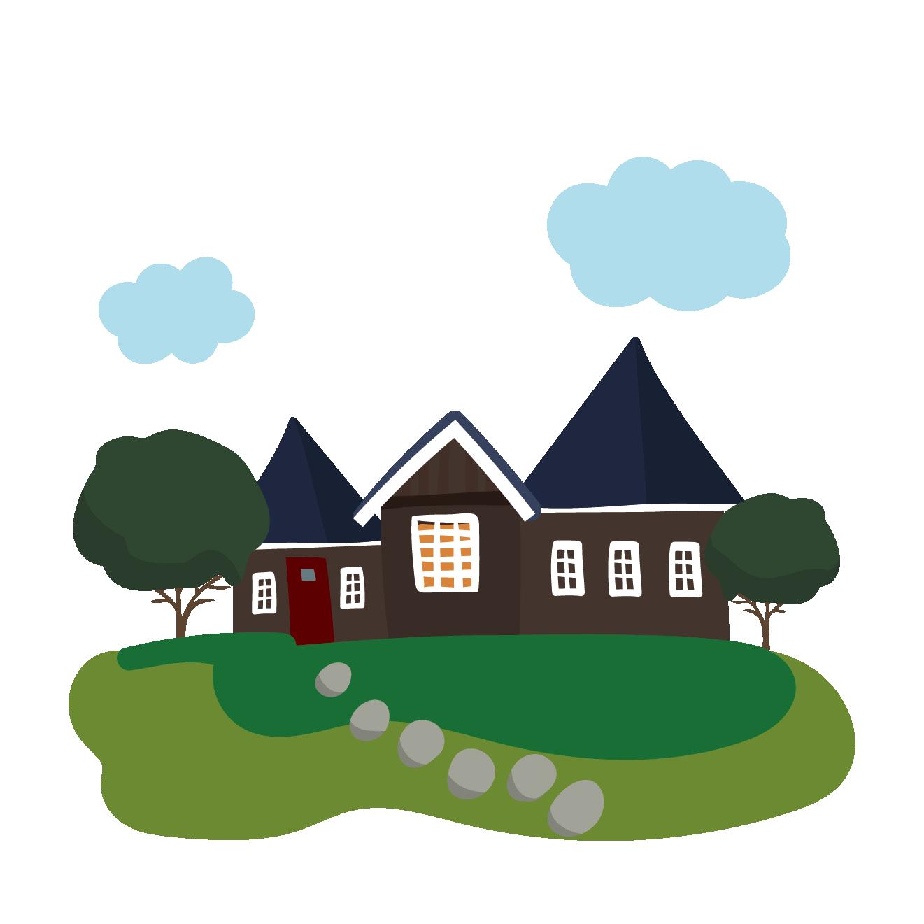 可愛らしい庭付き一軒家(家)のイラスト | 商用フリー(無料)のイラスト