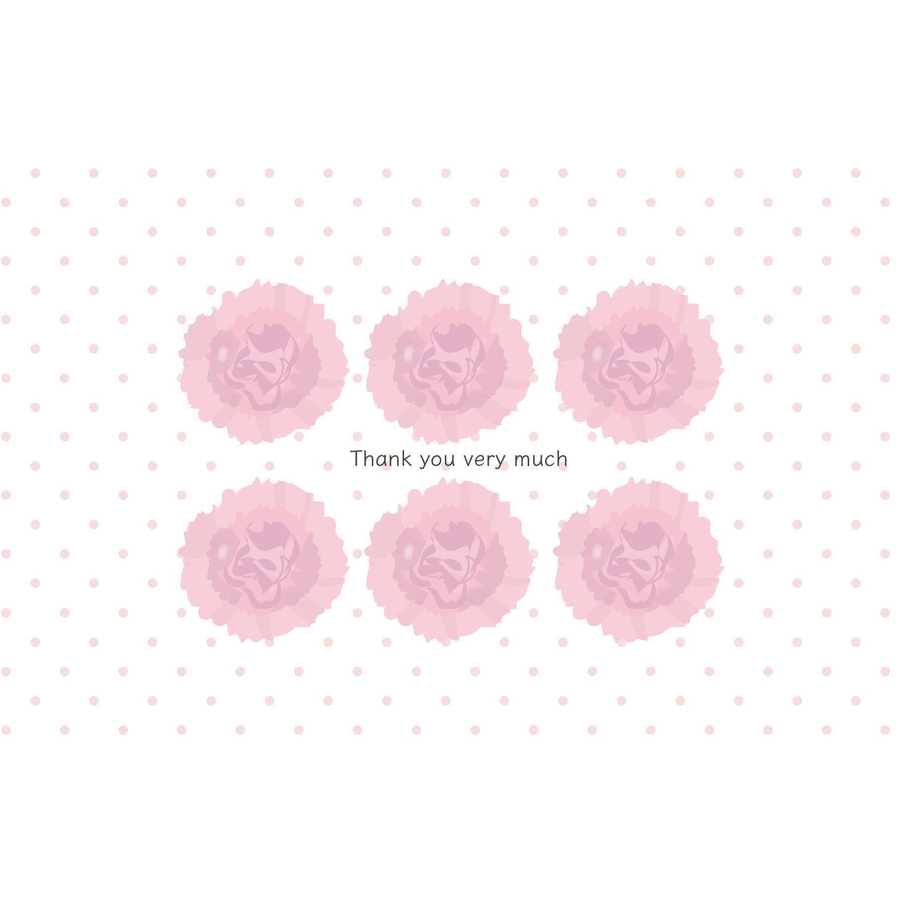 母の日のカーネーションと水玉のグリーティングカード(横)イラスト