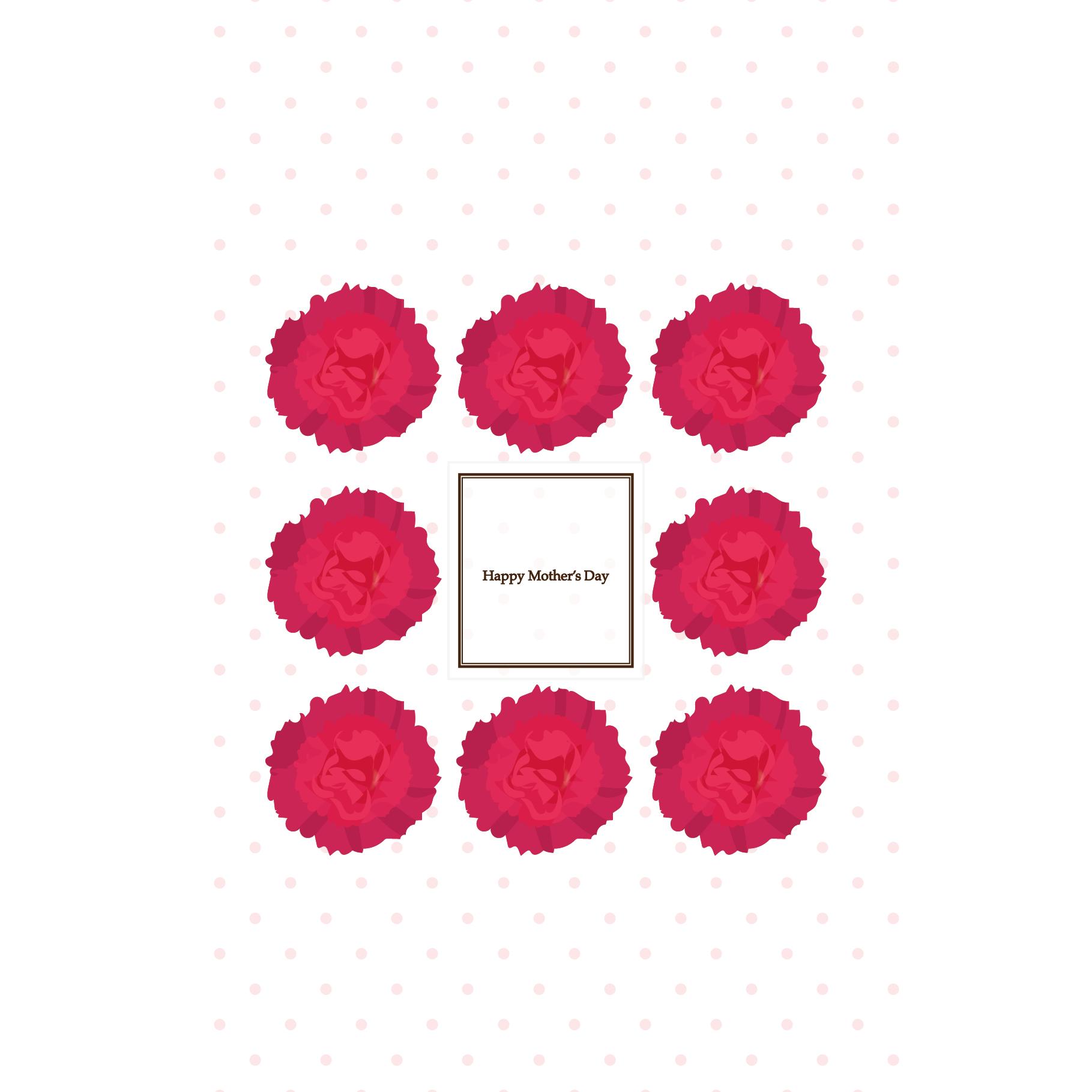 母の日のカーネーションと水玉のグリーティングカード(縦)イラスト