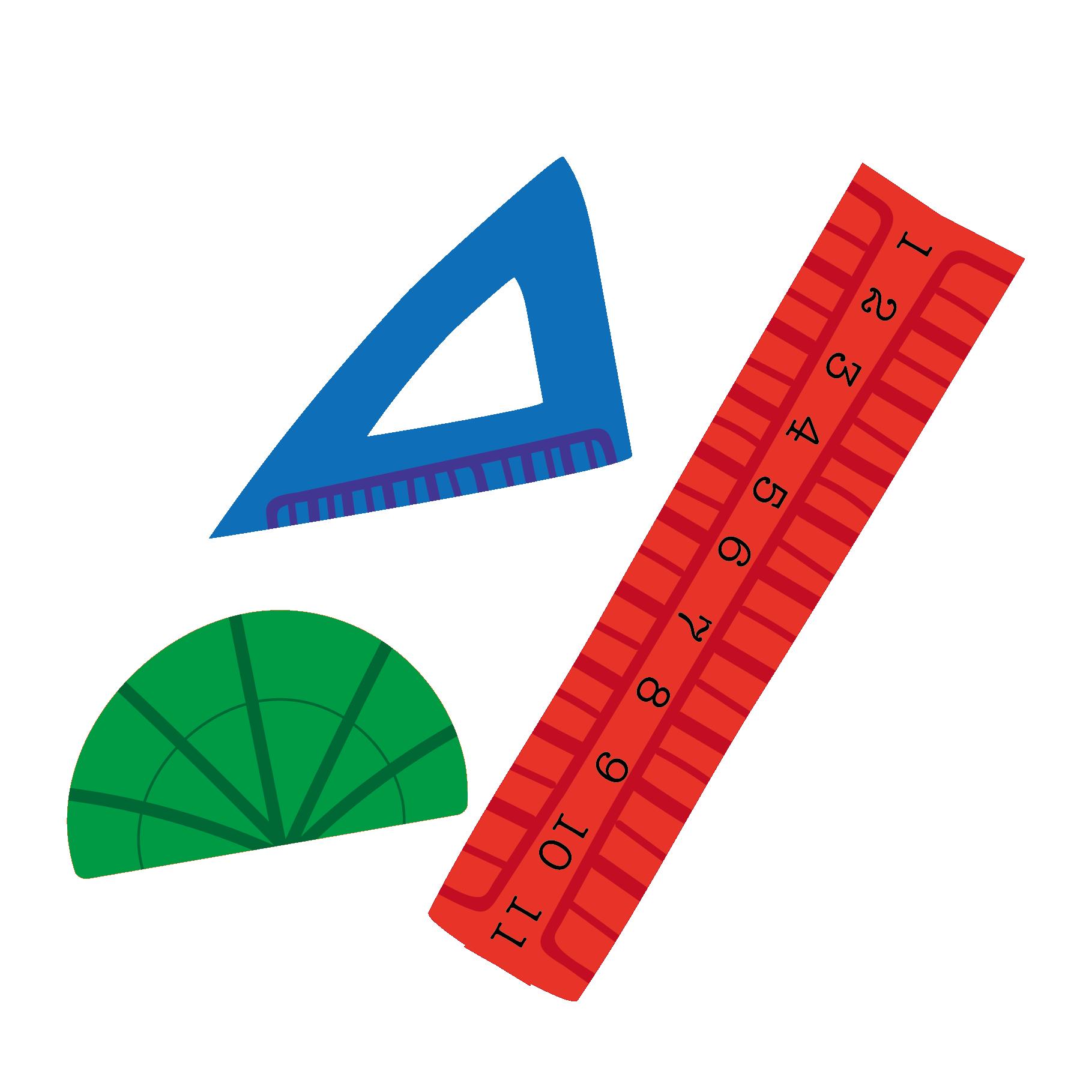 カラフルな定規・分度器・三角定規の 無料 イラスト