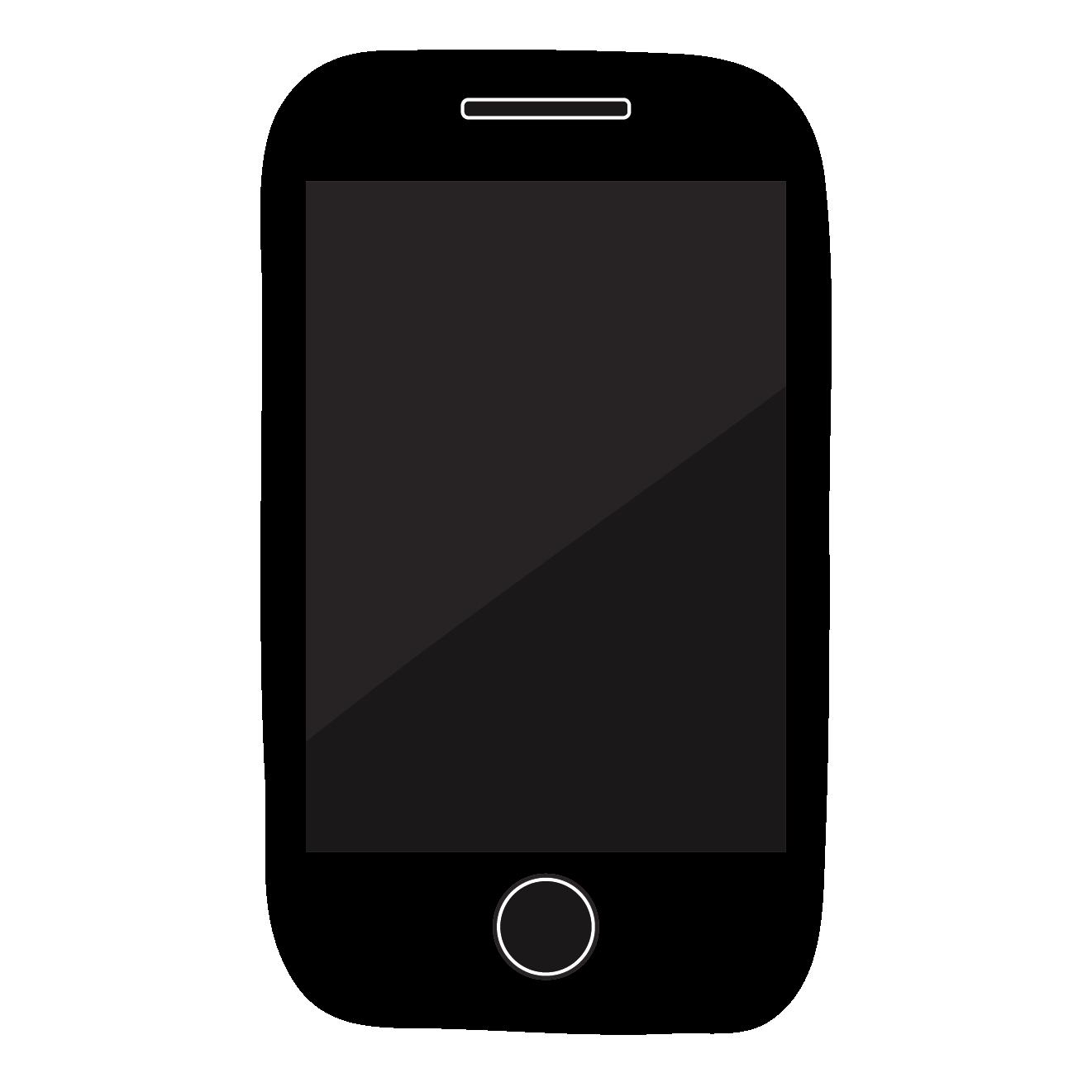 スマートフォン/携帯電話(黒・ブラック)のイラスト | 商用フリー(無料