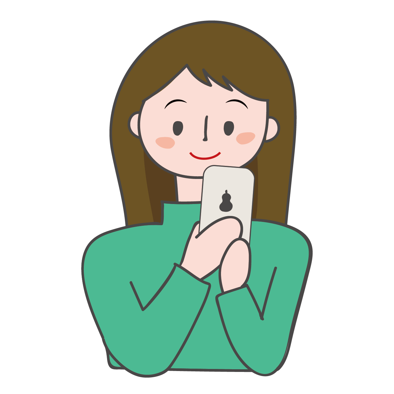 スマートフォン(スマフォ・携帯電話)を見ている女性のイラスト | 商用