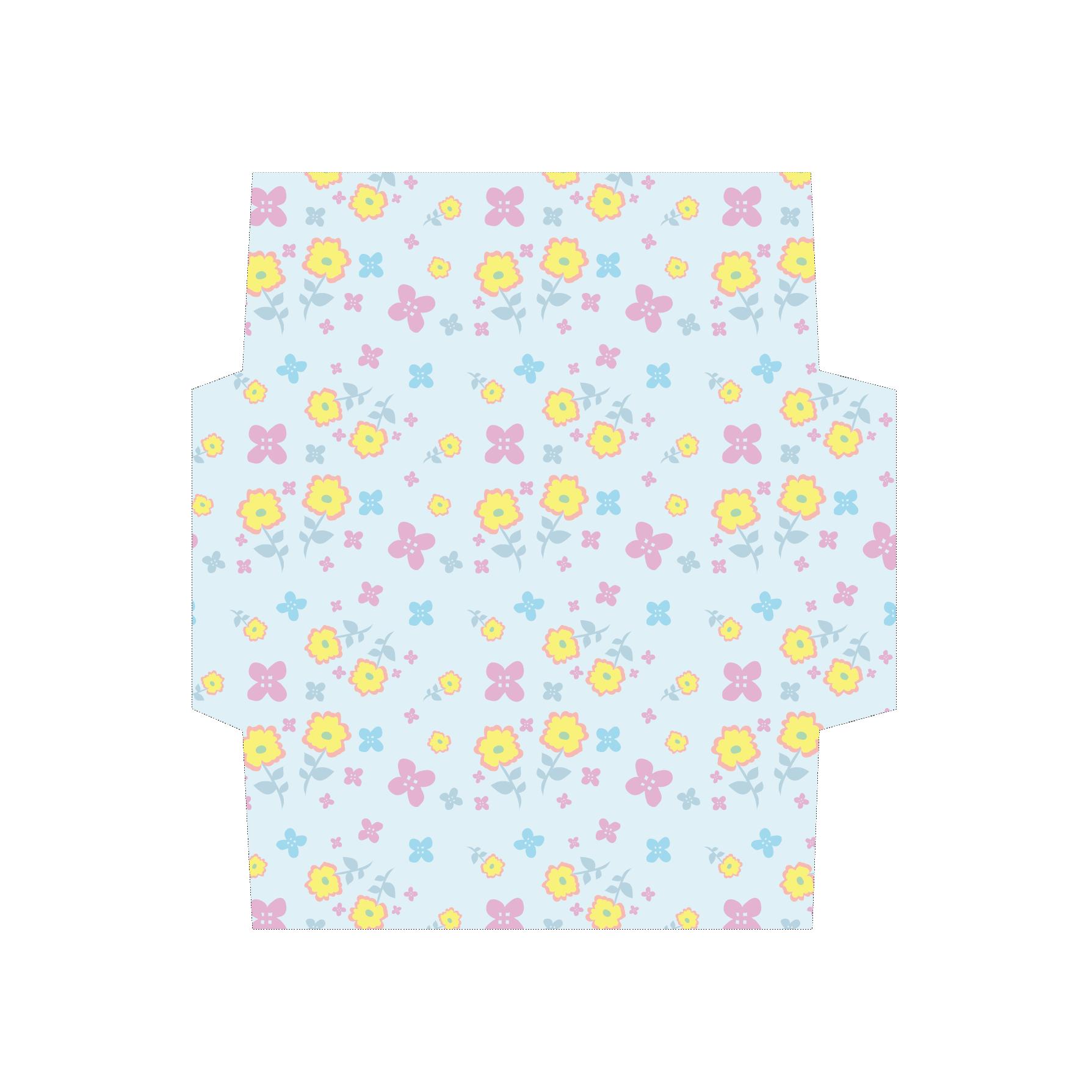 花柄のかわいい封筒(パステルブルー)のテンプレート イラスト