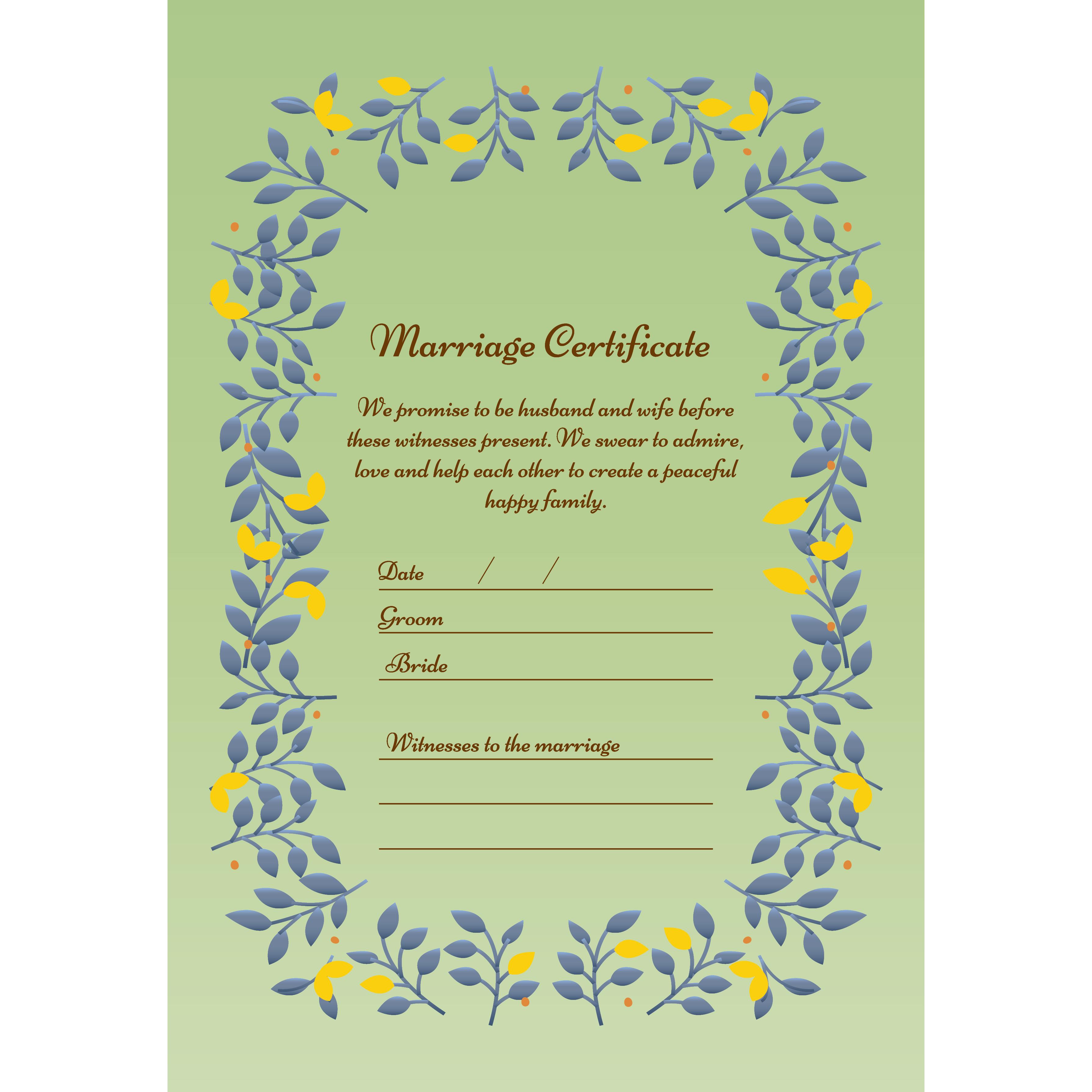 結婚証明書 テンプレート イラスト♪リーフがかわいい【縦】 | 商用