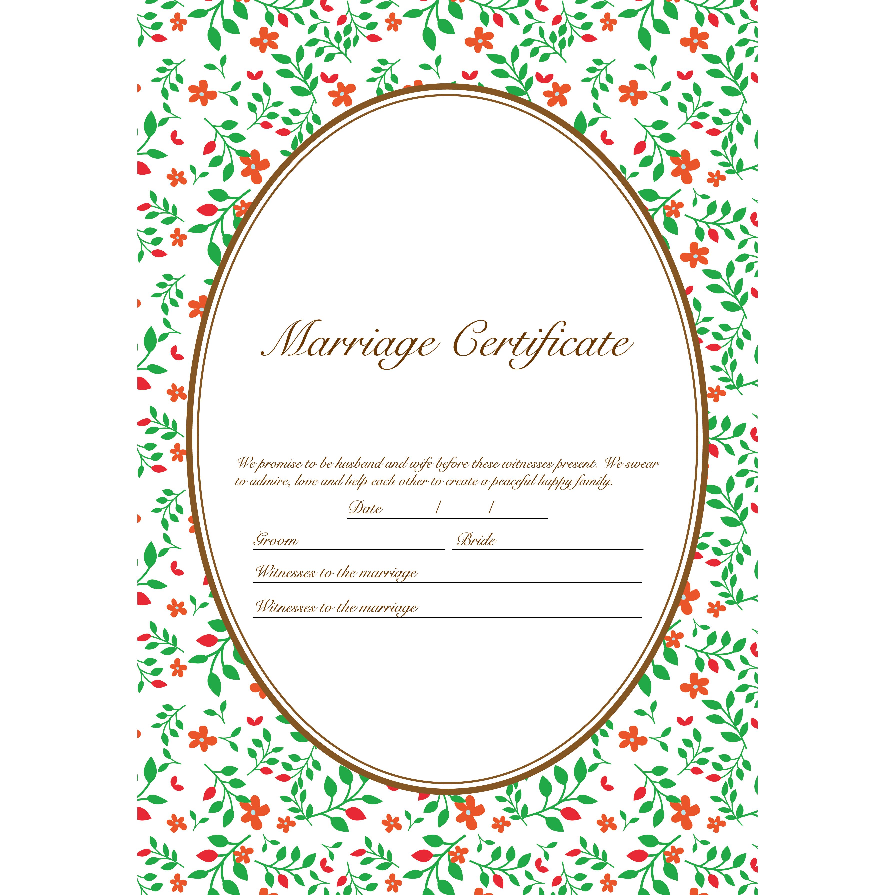 結婚証明書 英語 テンプレート【縦】 イラストグリーンガーデン♪