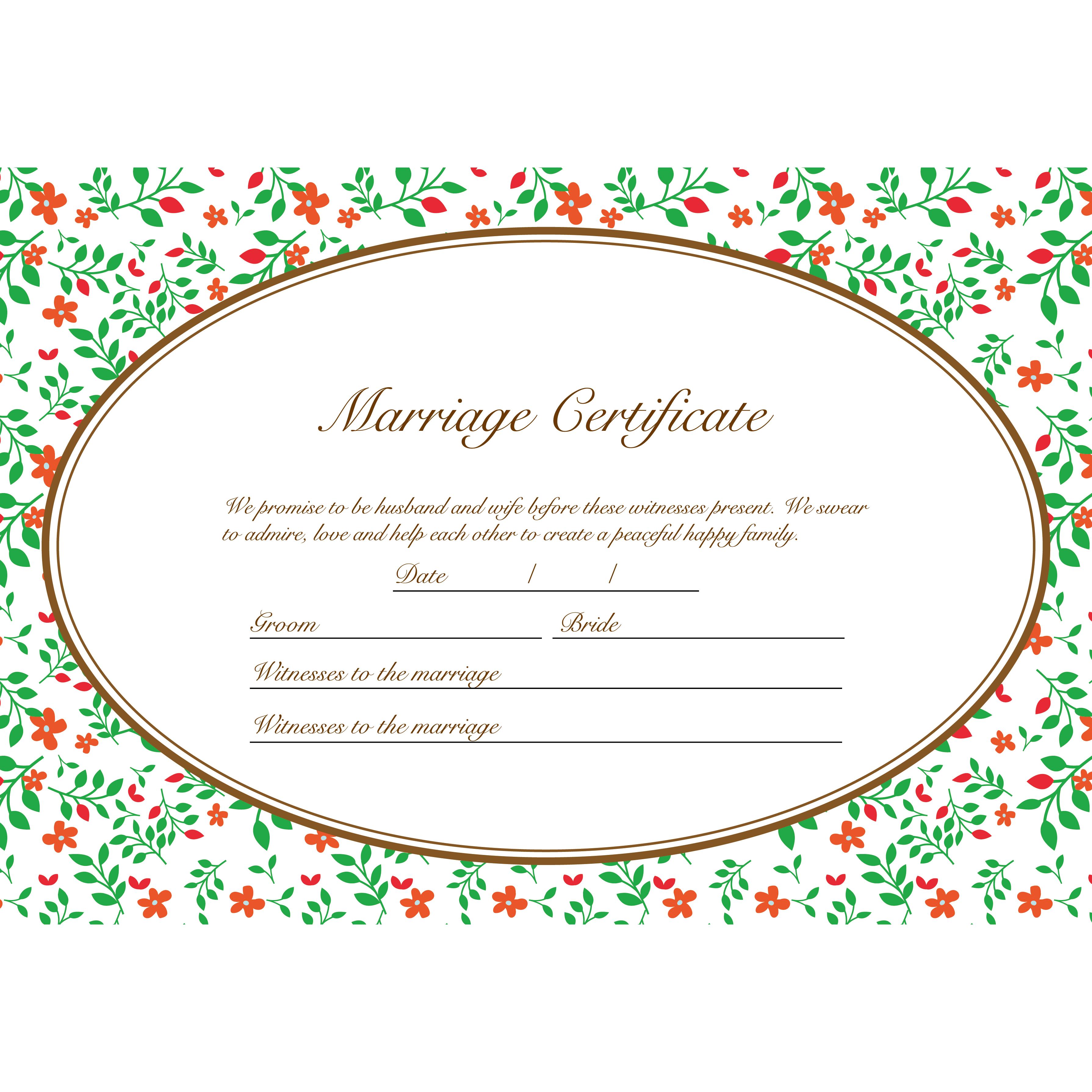 結婚証明書 テンプレート【横】 英語 イラストグリーンガーデン♪