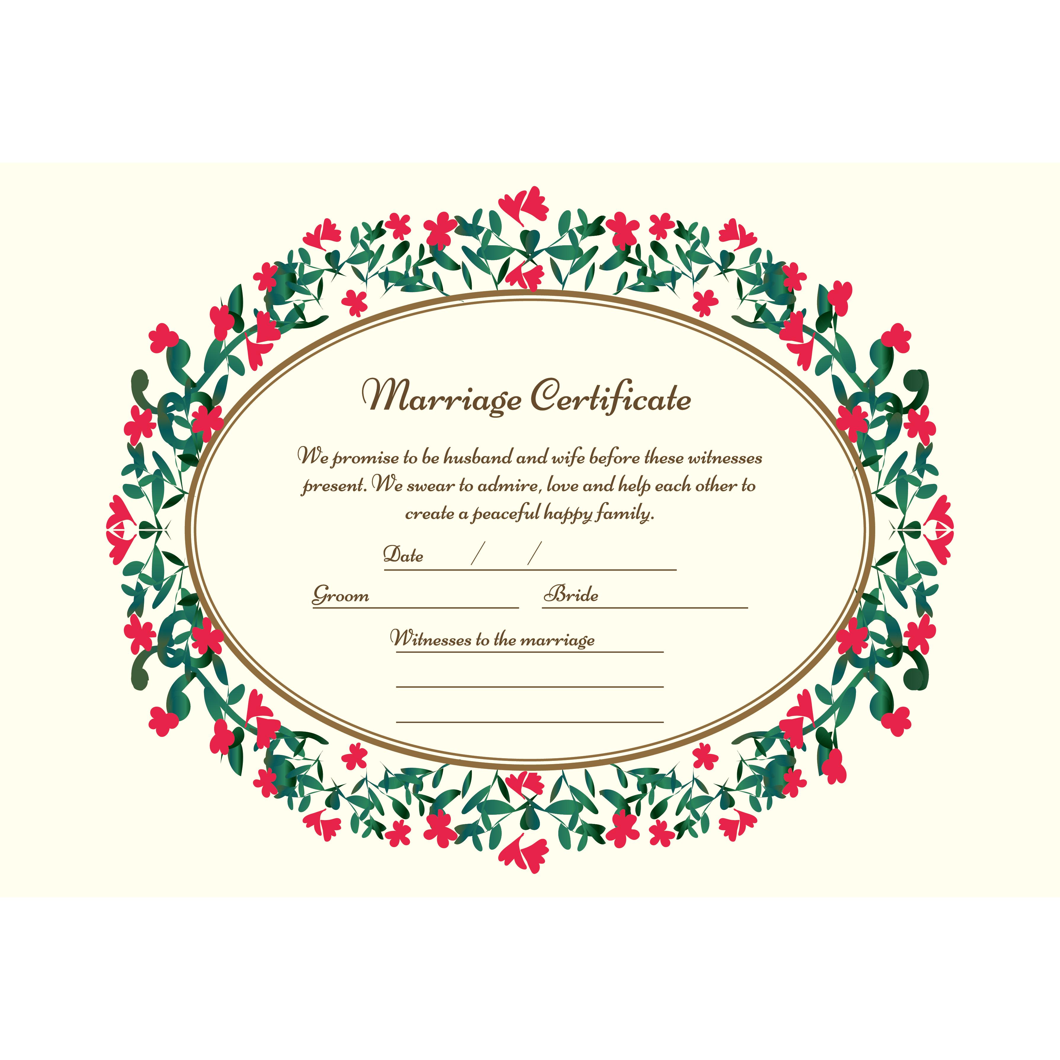 結婚証明書 英語 の テンプレート【横】 イラスト♪ビビットフラワー