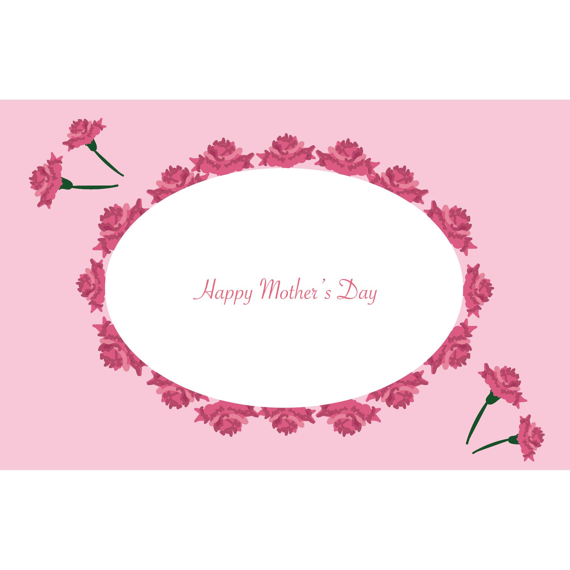 母の日のかわいいカーネーションのグリーティングカード【横】