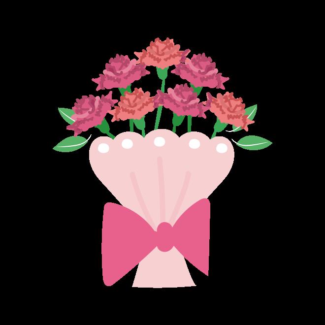 母の日のプレゼント(ギフト)かわいい カーネーション 花束 イラスト