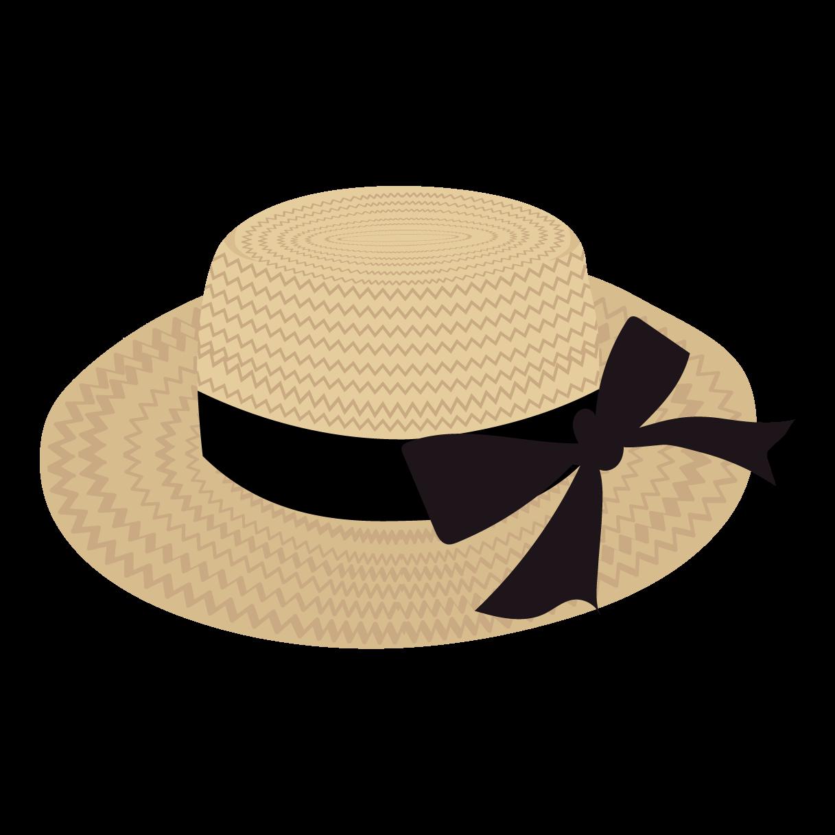 おしゃれ麦わら帽子 リボン の フリー イラスト 商用フリー無料の