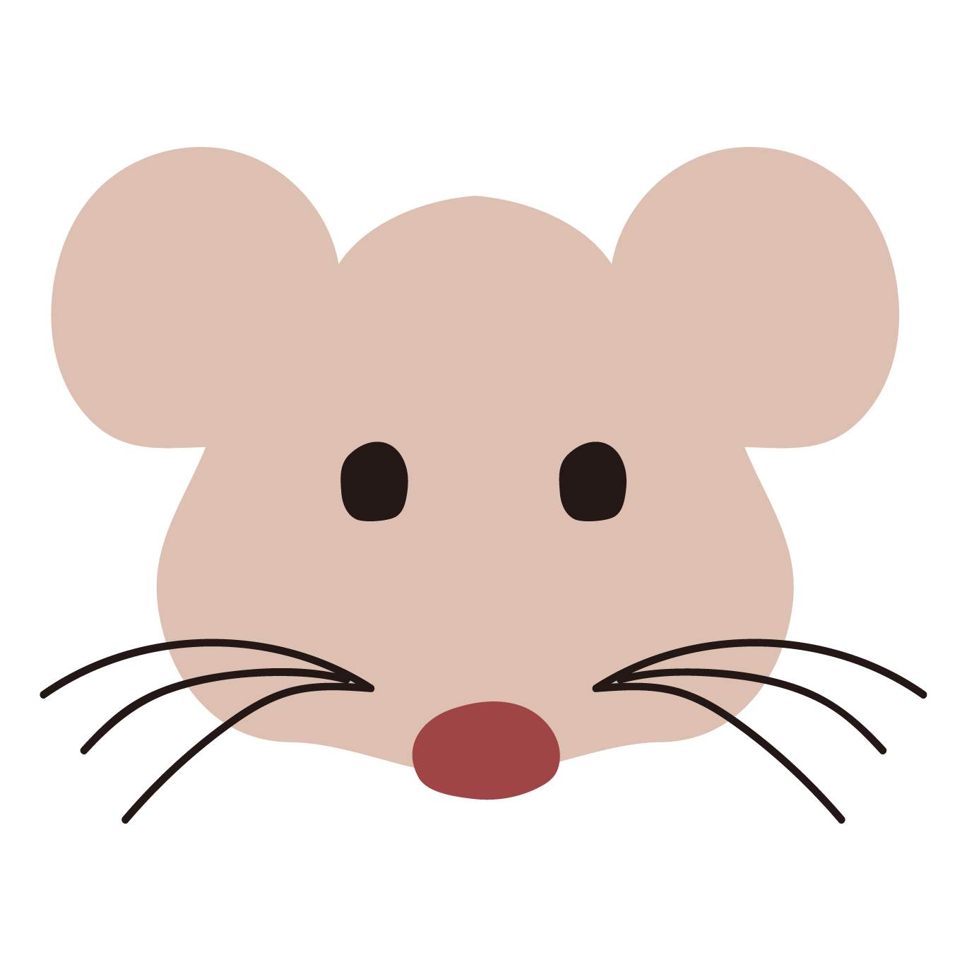 ネズミねずみ鼠の顔の 無料 イラスト 商用フリー無料の