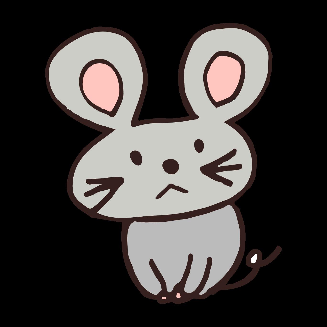 かわいい!ネズミ(鼠,ねずみ)!手書き!フリー イラスト!