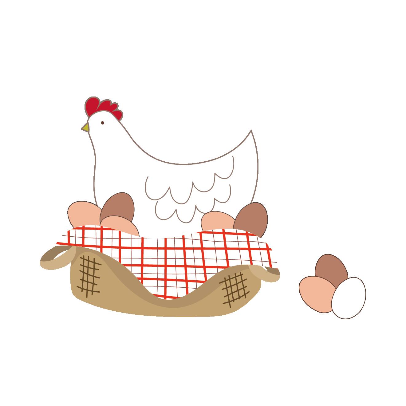 酉年おしゃれでかわいいカゴに入った鶏と卵のイラスト 商用フリー