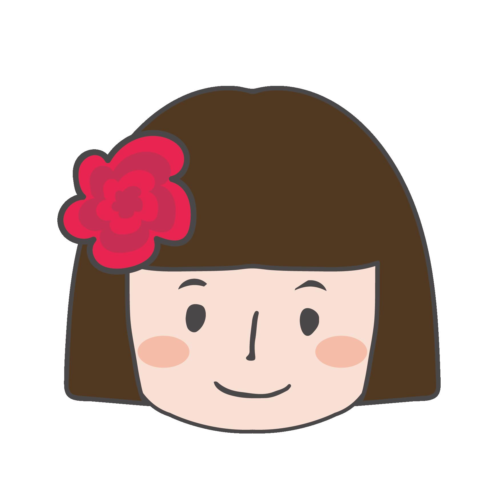 オカッパヘアーのかわいい女の子のイラスト【顔アップ】 | 商用フリー