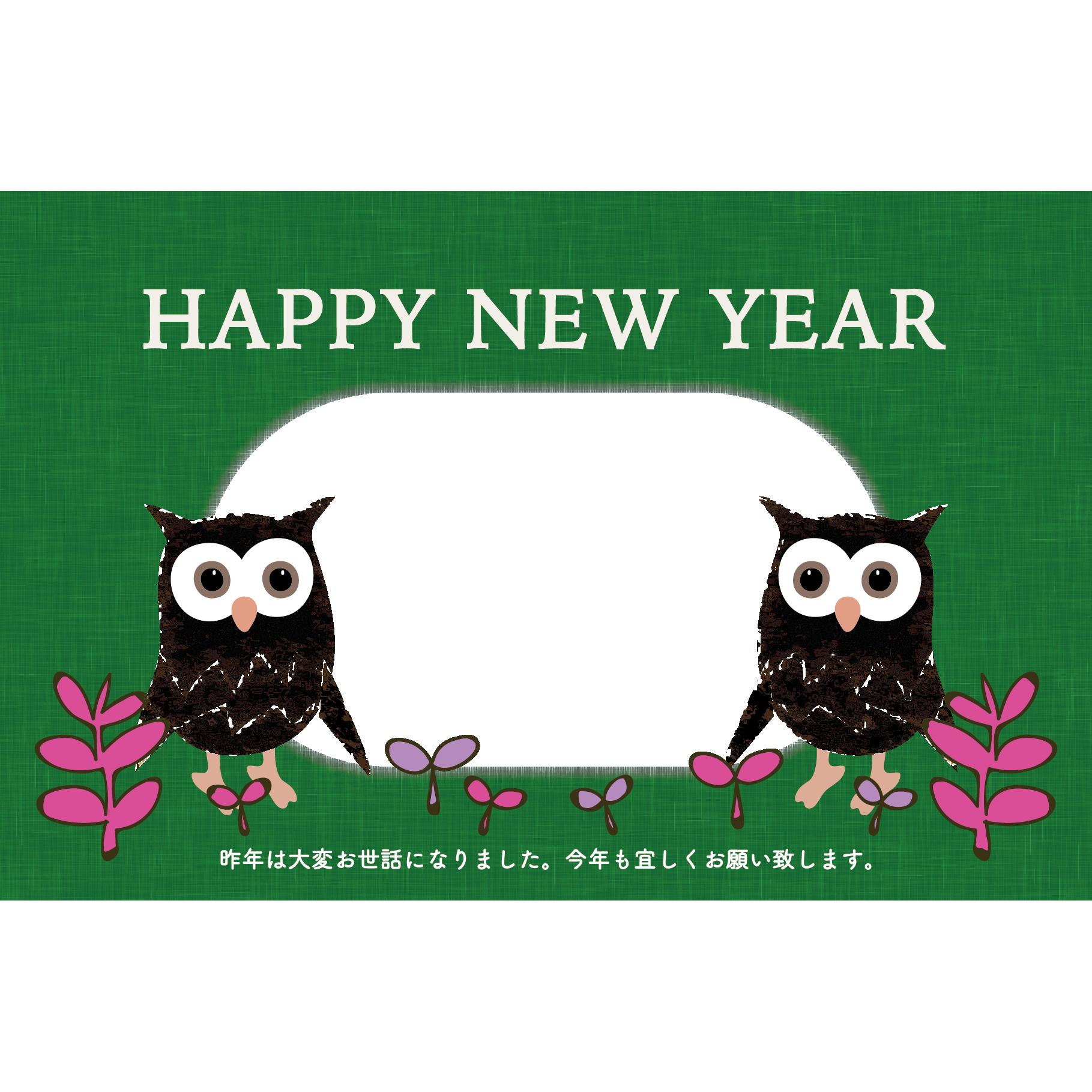 写真フレーム付き】フクロウ(ふくろう)のおしゃれな年賀状 2017年