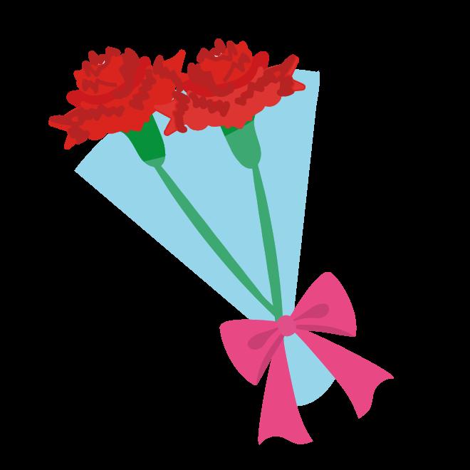 カーネーションの花束(赤色)の 無料イラスト