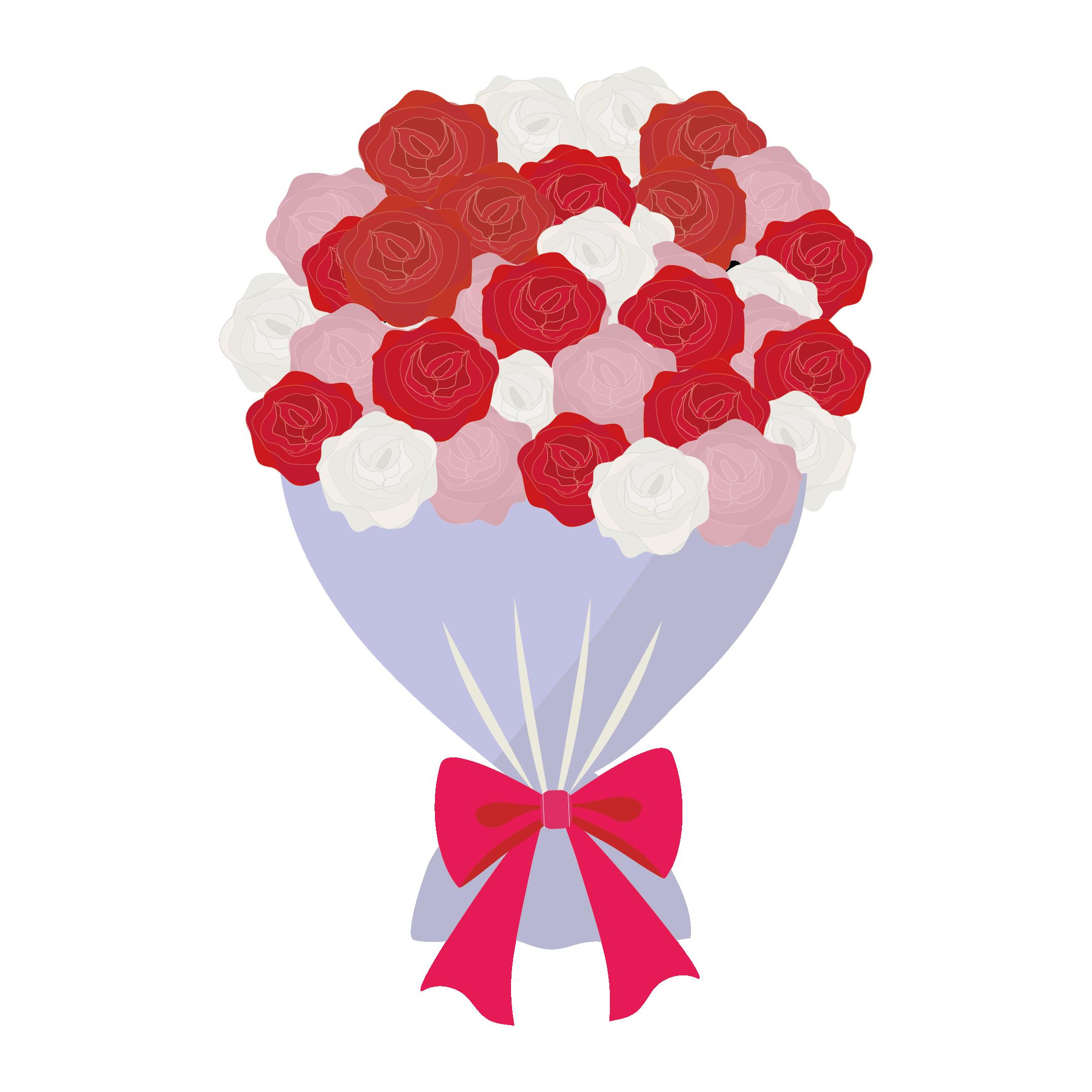 ラブリーな薔薇(バラ)の花束の フリー イラスト