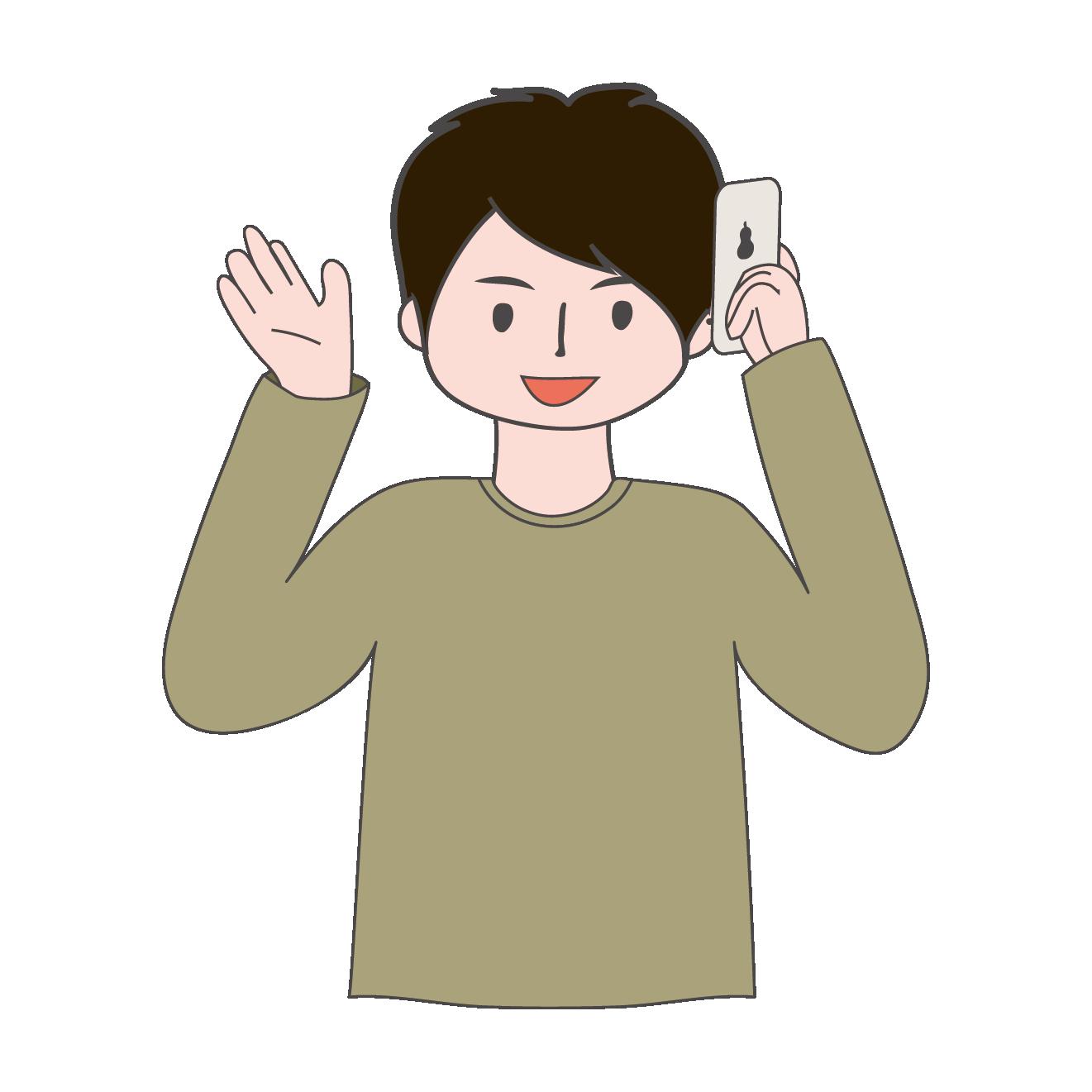 携帯電話で通話中お話中の男性のイラスト 商用フリー無料の