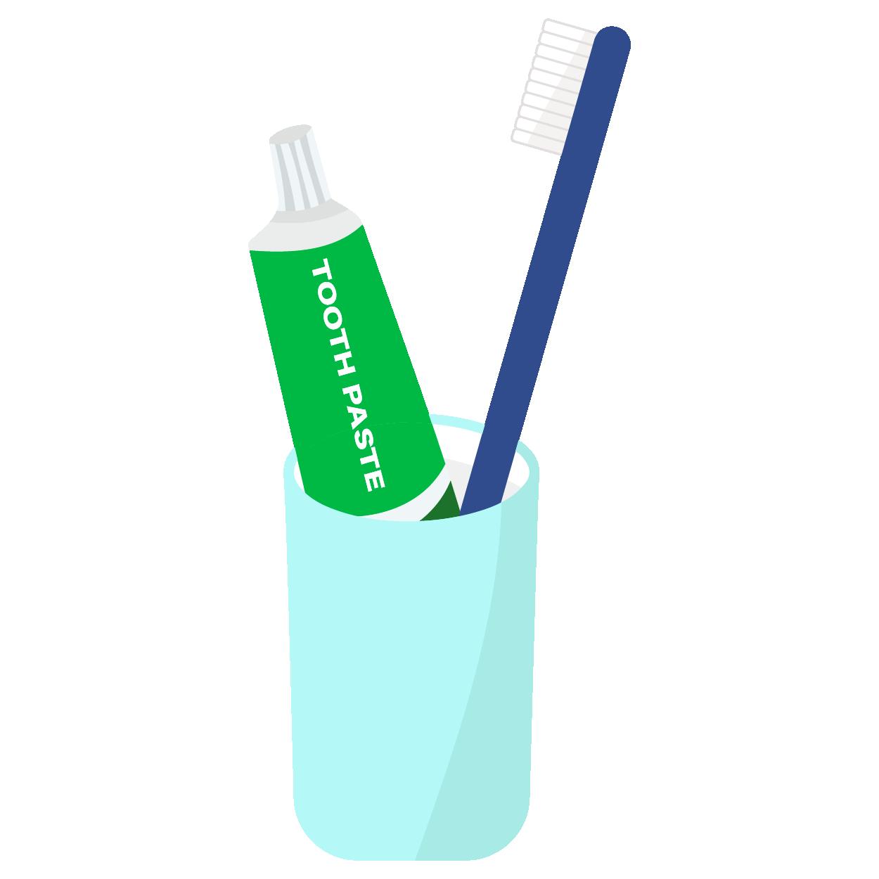 歯ブラシと歯磨き粉とカップのセット イラスト 商用フリー無料の