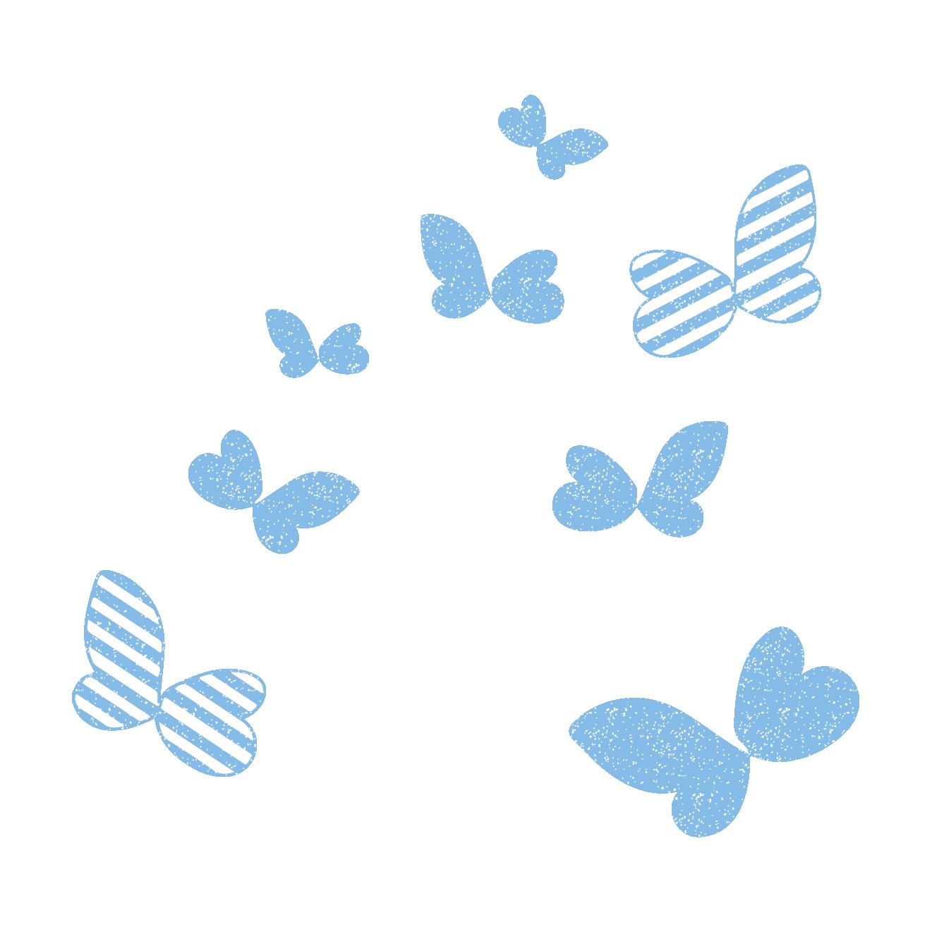 かわいい蝶(ちょう・ちょうちょ)のスタンプ イラスト | 商用フリー