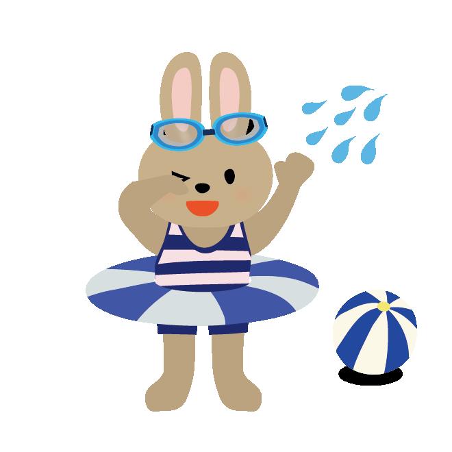 浮き輪うきわとウサギの男の子水遊びイラスト 商用フリー無料