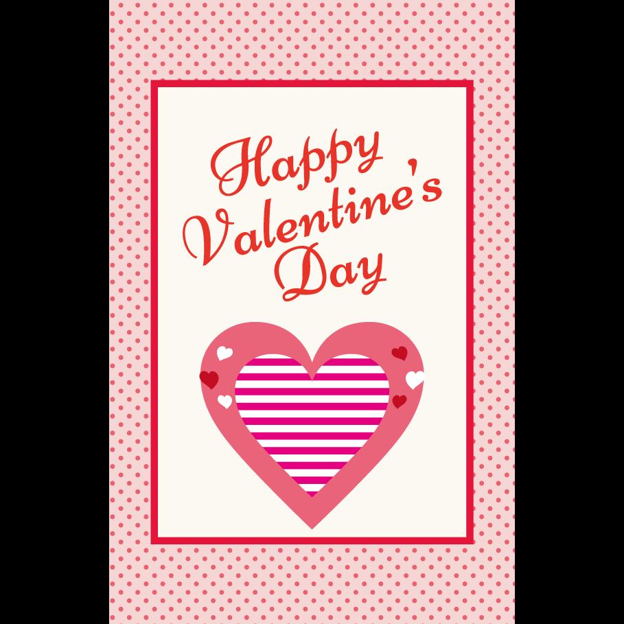 バレンタイン♪かわいい ハートマークのポストカード イラスト(縦)